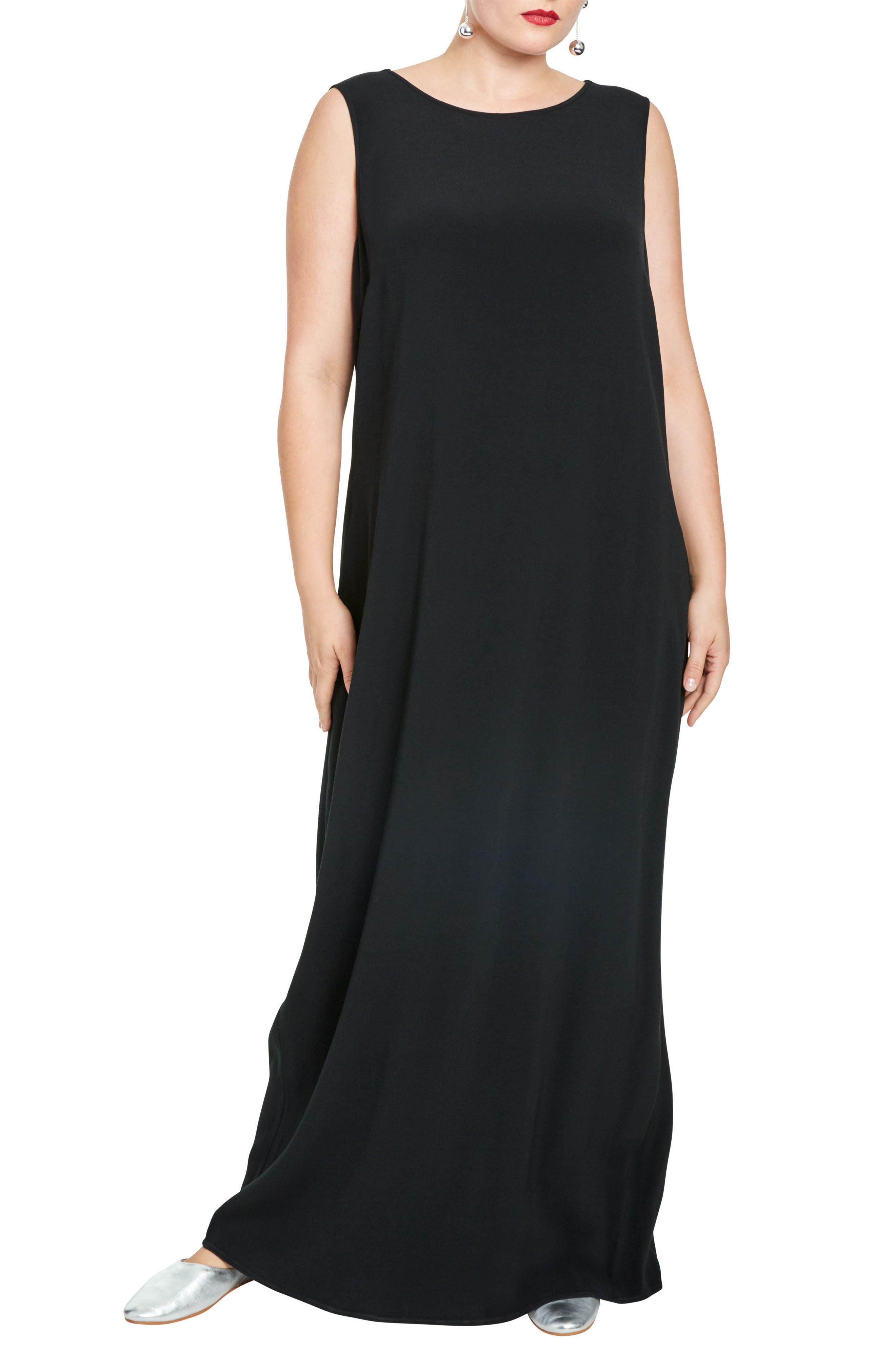 Mera Crepe Gown,                         Main,                         color, Black