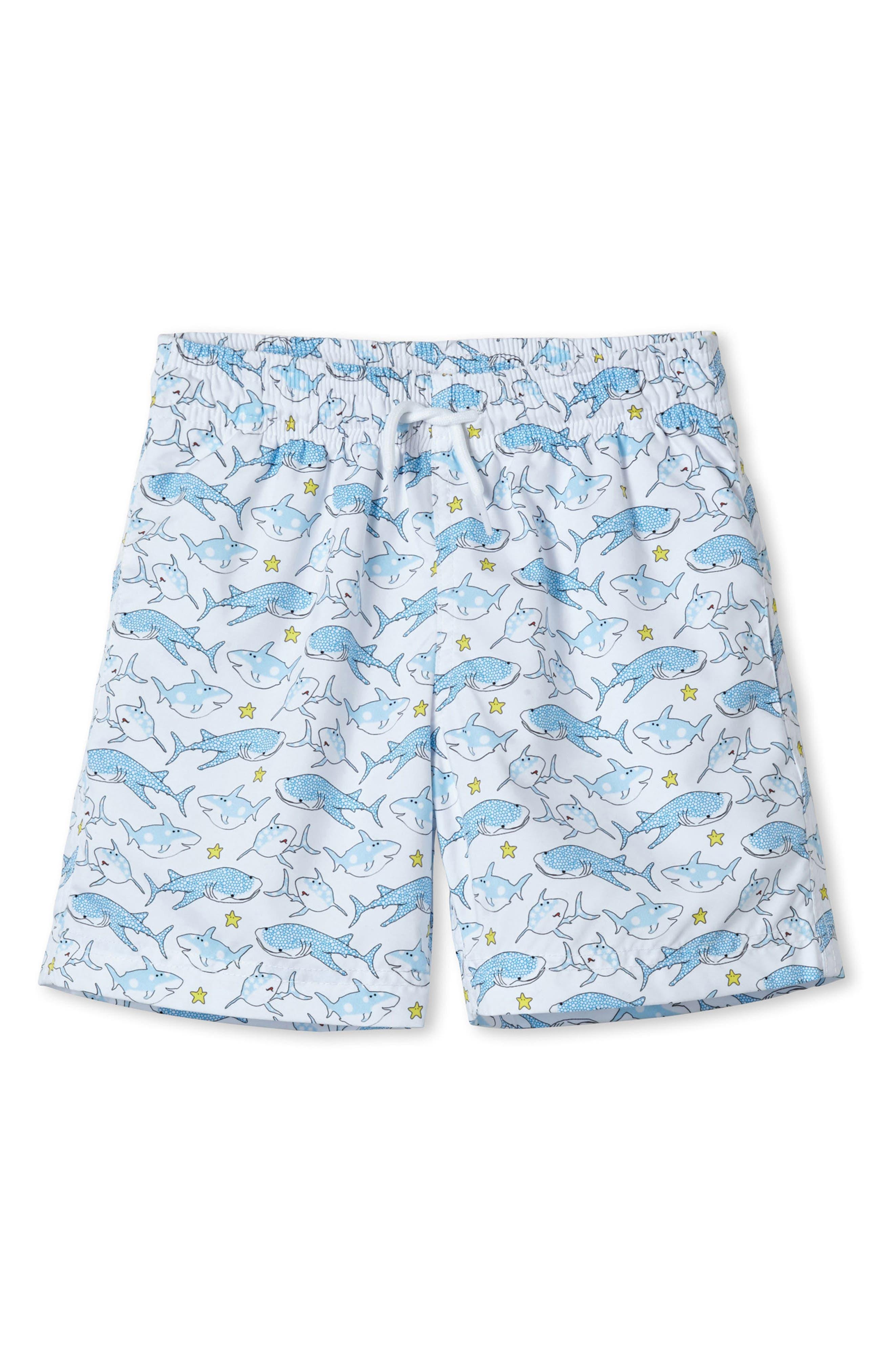 White Shark Swim Trunks,                         Main,                         color, White