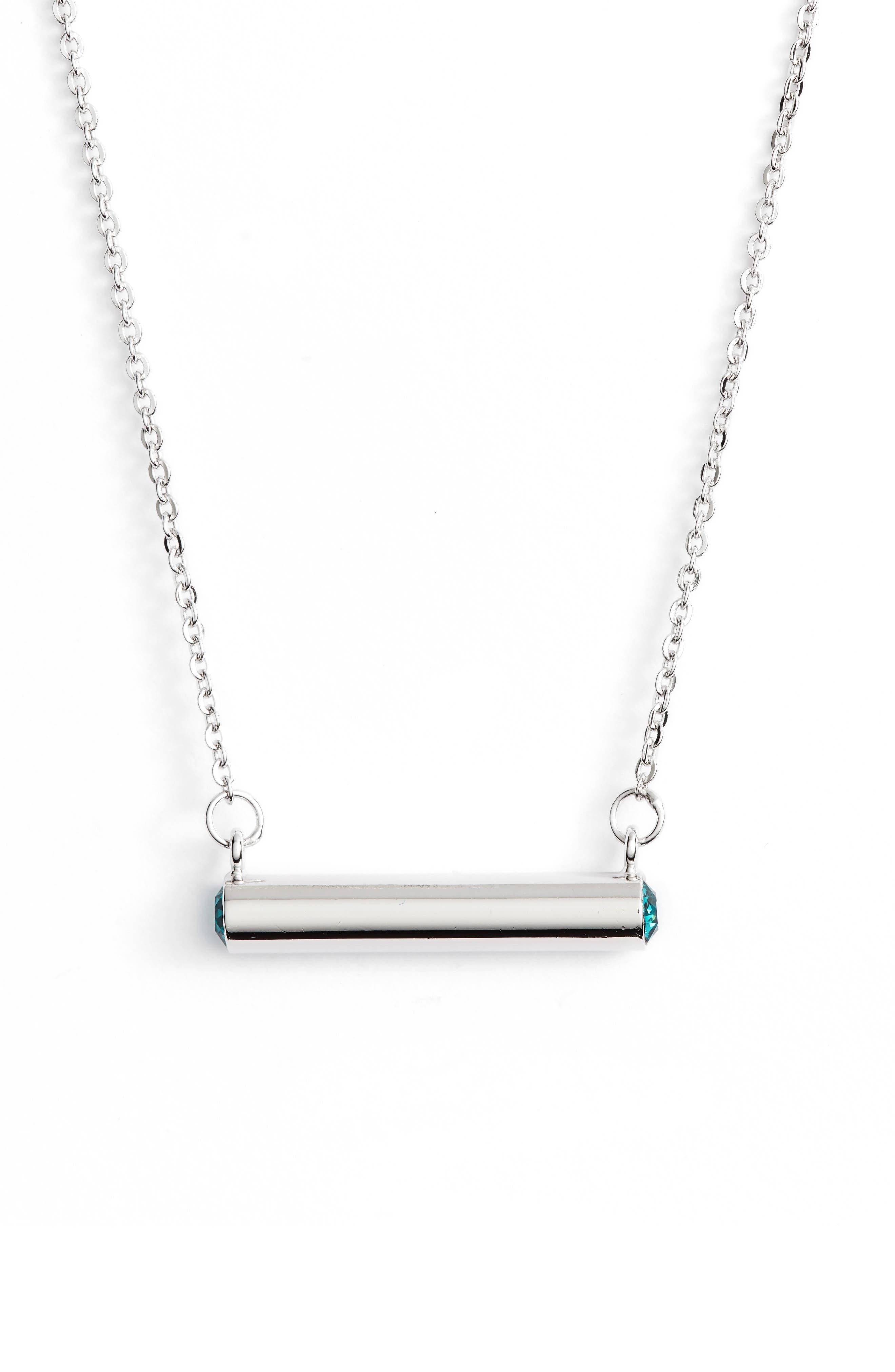 December Crystal Bar Pendant Necklace,                         Main,                         color, Silver