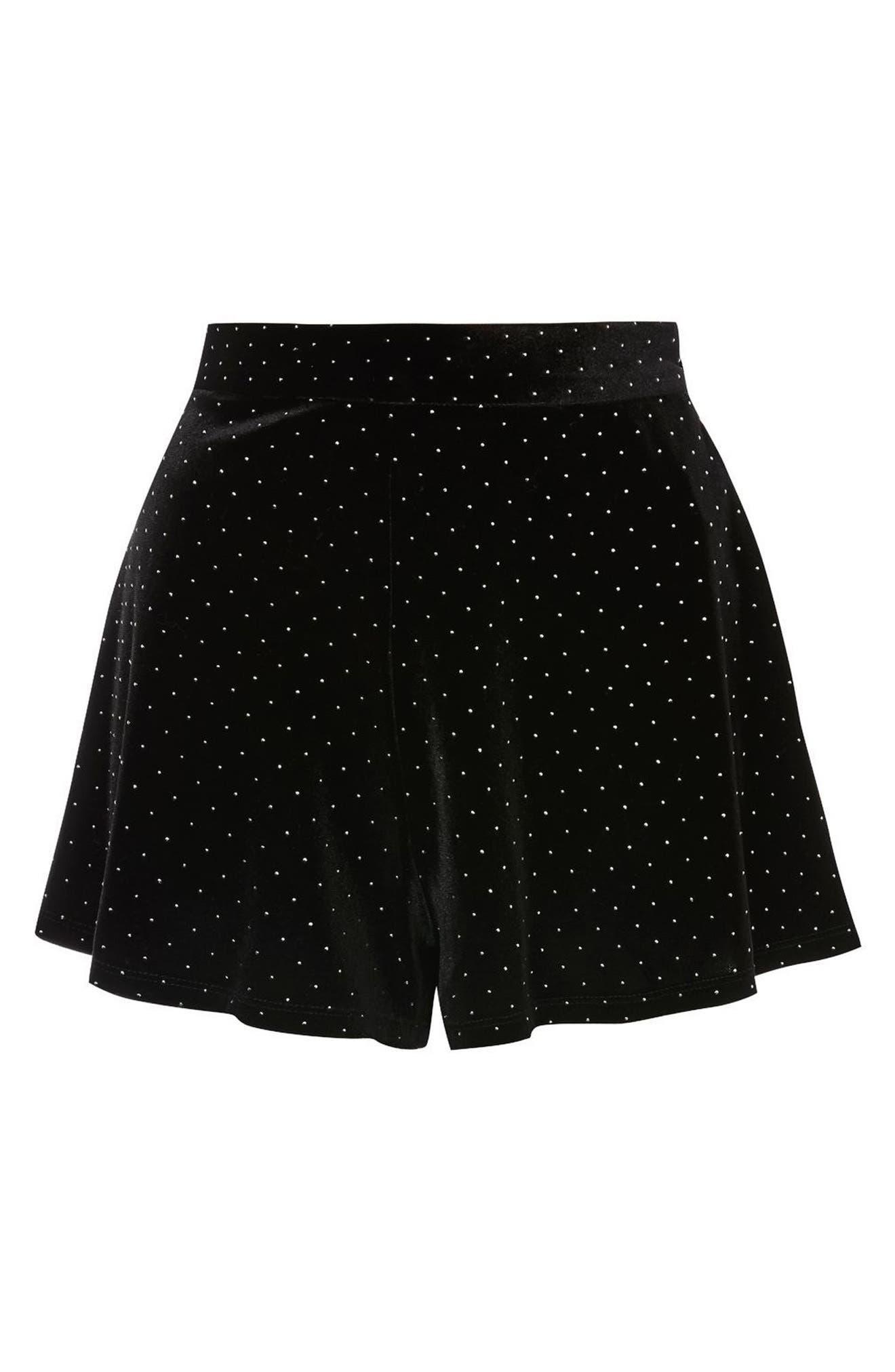 Studded Velvet Flippy Shorts,                             Alternate thumbnail 3, color,                             Black