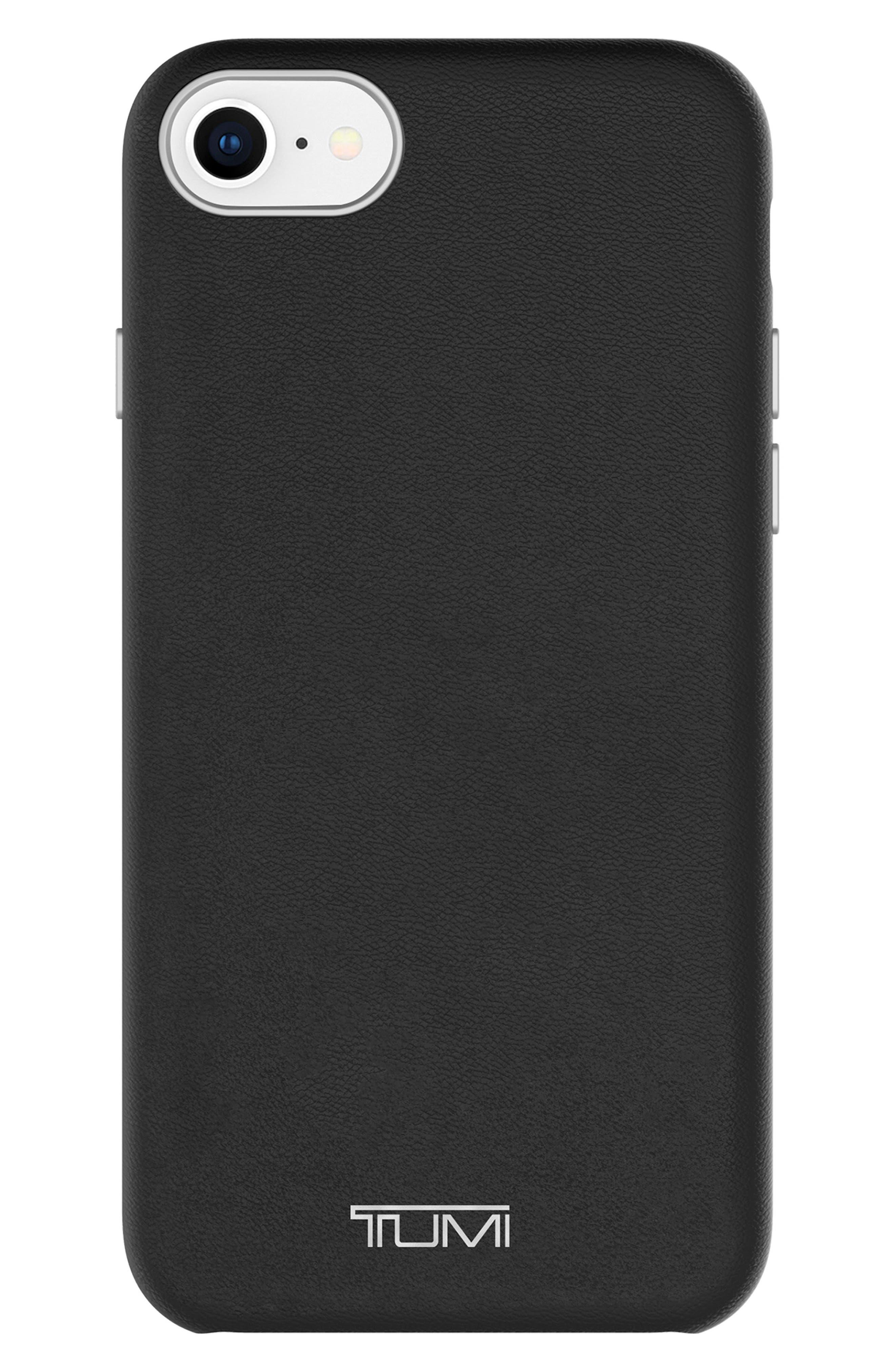 Leather Wrap iPhone 8 Case,                             Main thumbnail 1, color,                             Black