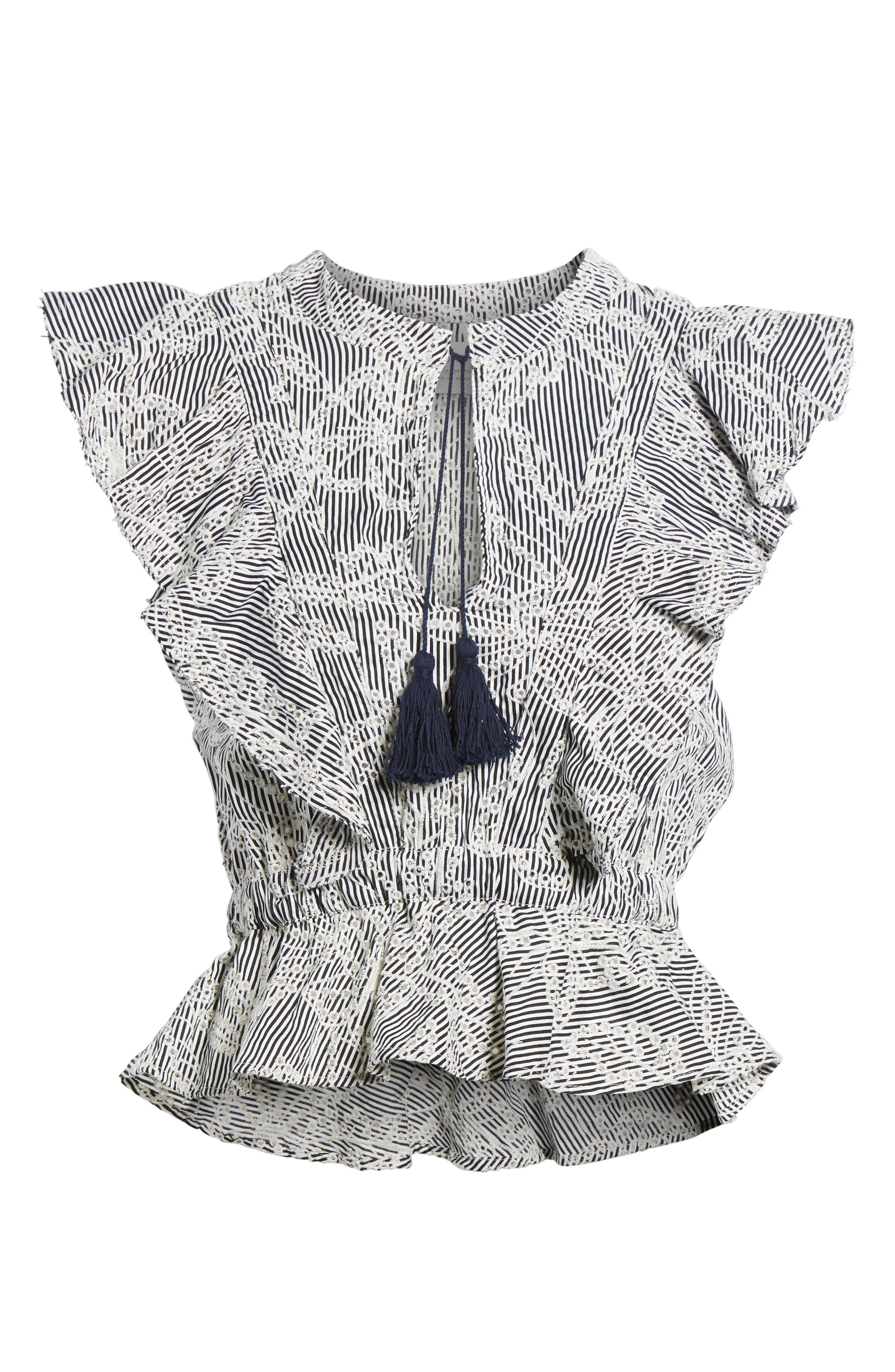 Peplum Top,                             Alternate thumbnail 6, color,                             Embroidered Stripe