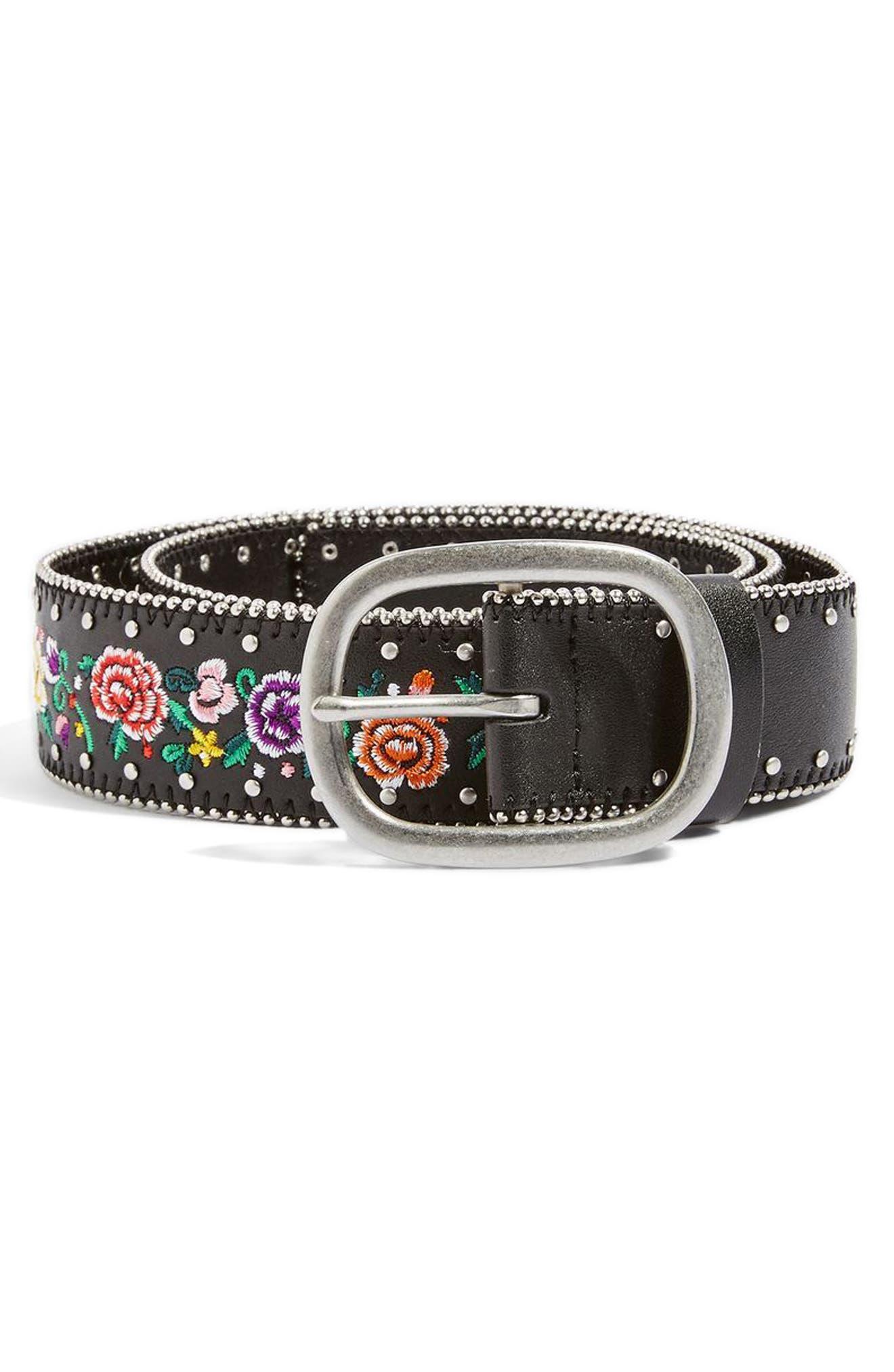 Chain Trim Floral Embroidered Belt,                         Main,                         color, Black Multi