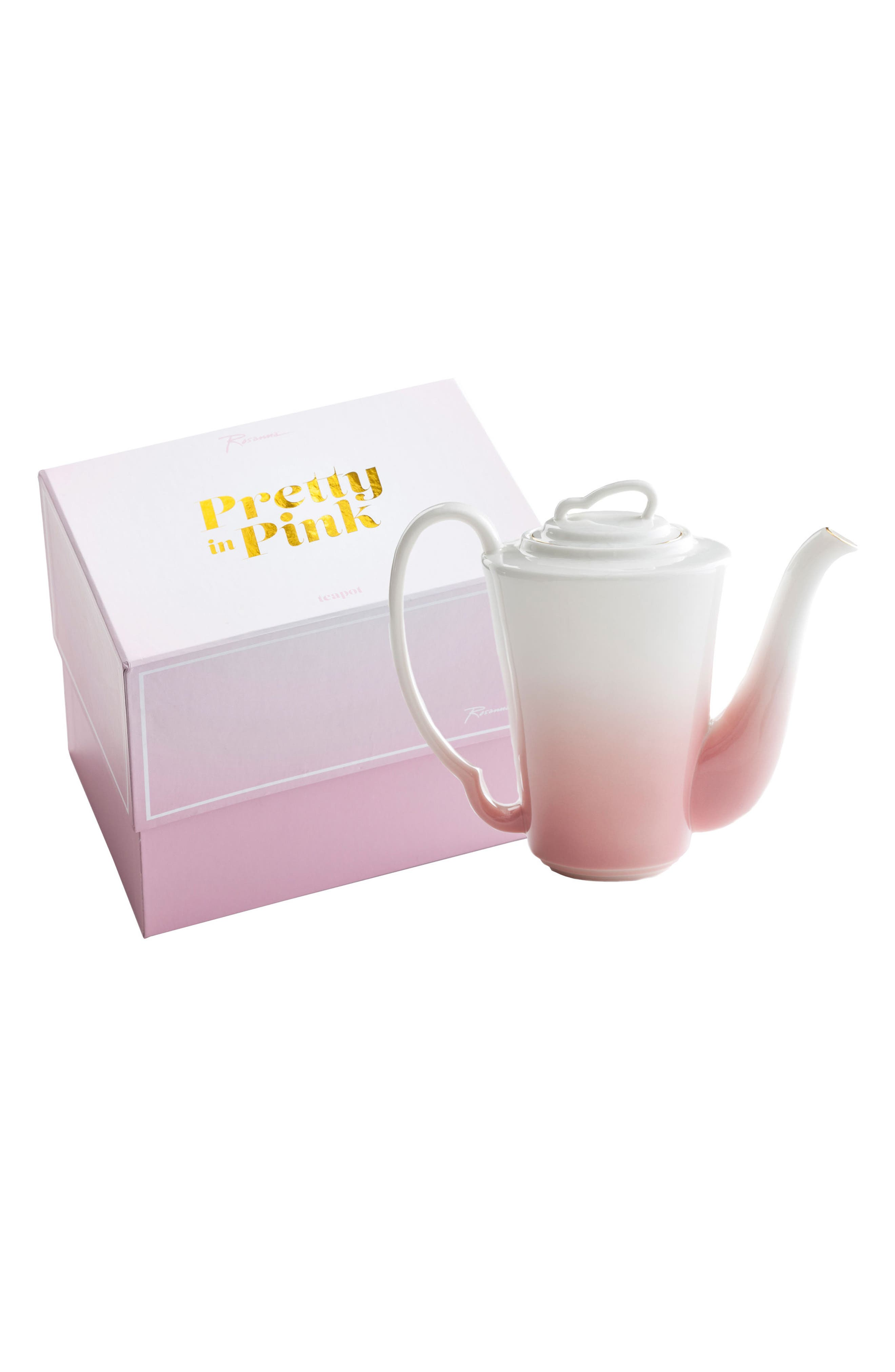 Pretty In Pink Porcelain Teapot,                         Main,                         color, Pink/ White/ Gold