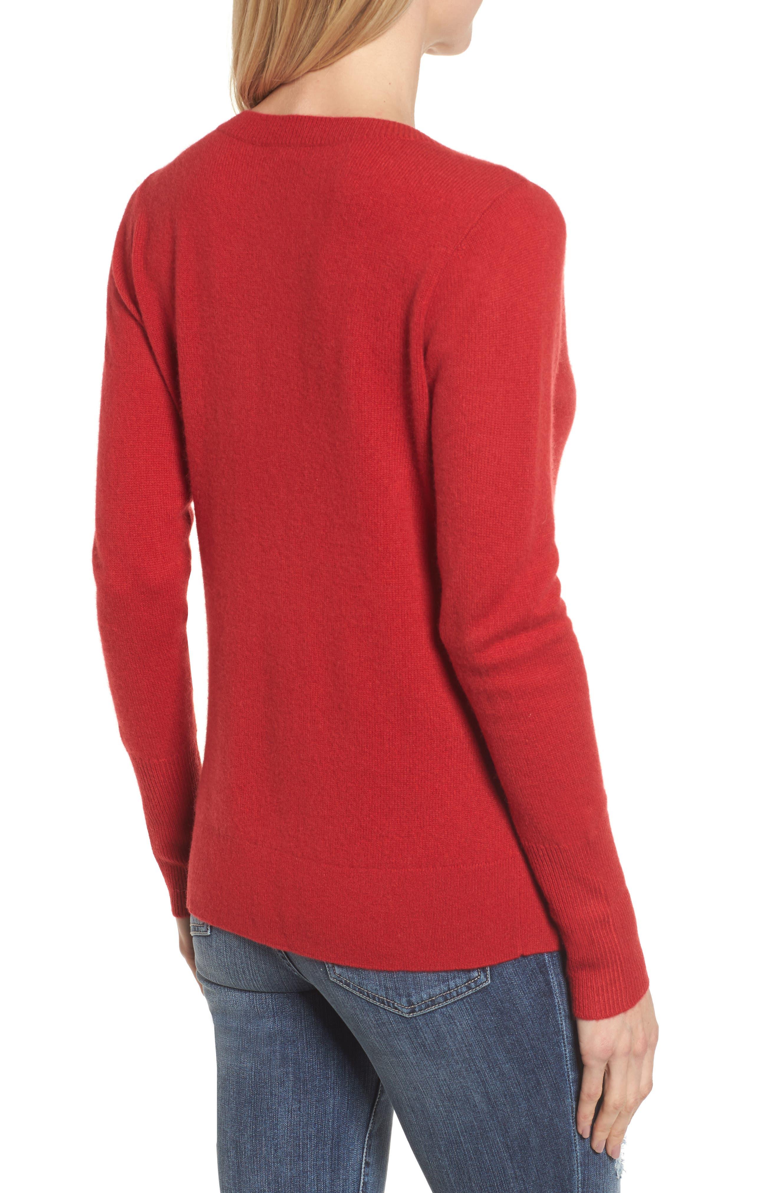 Alternate Image 2  - Halogen® V-Neck Cashmere Sweater (Regular & Petite)
