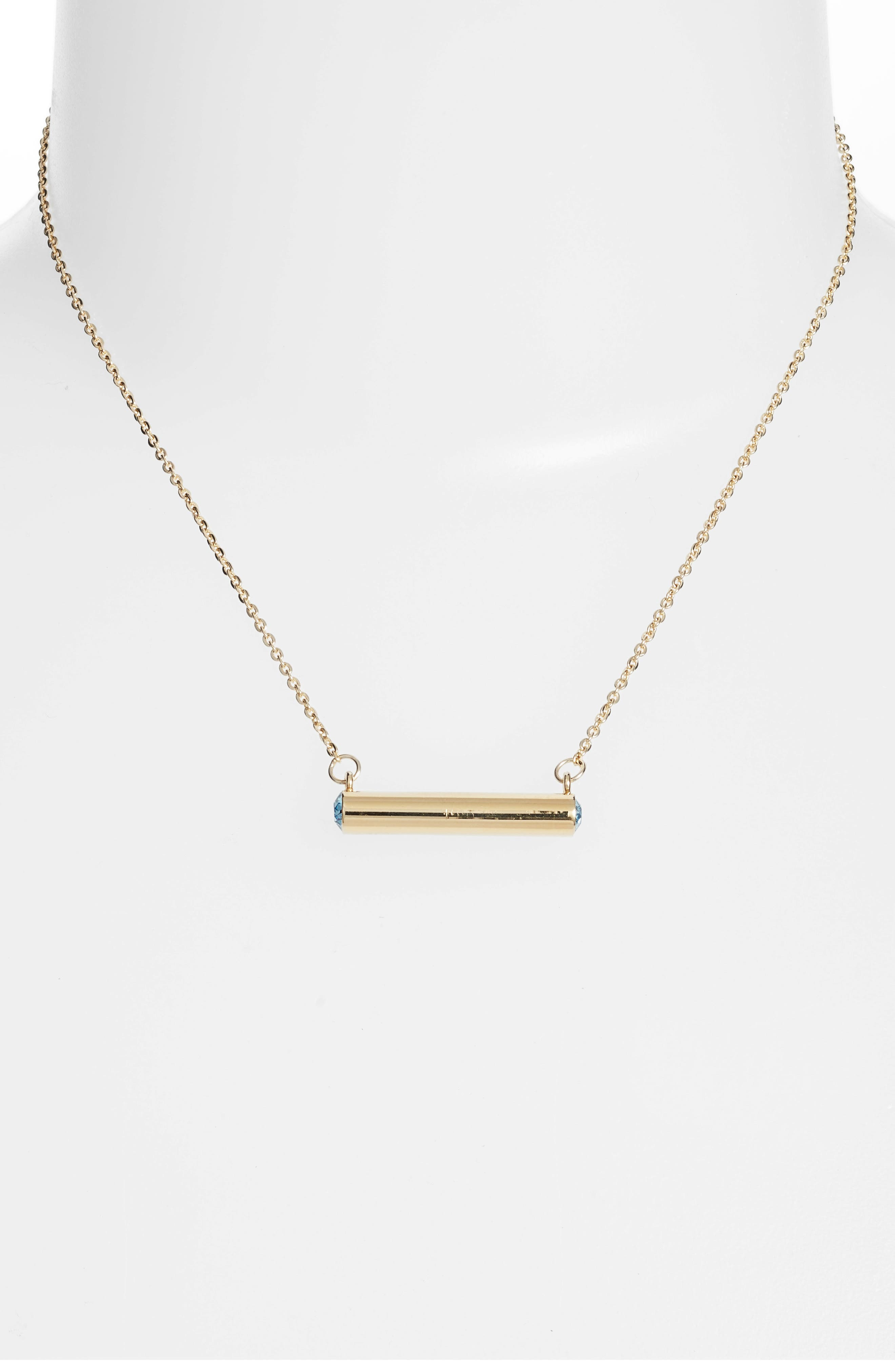 March Crystal Bar Pendant Necklace,                             Alternate thumbnail 2, color,                             Gold