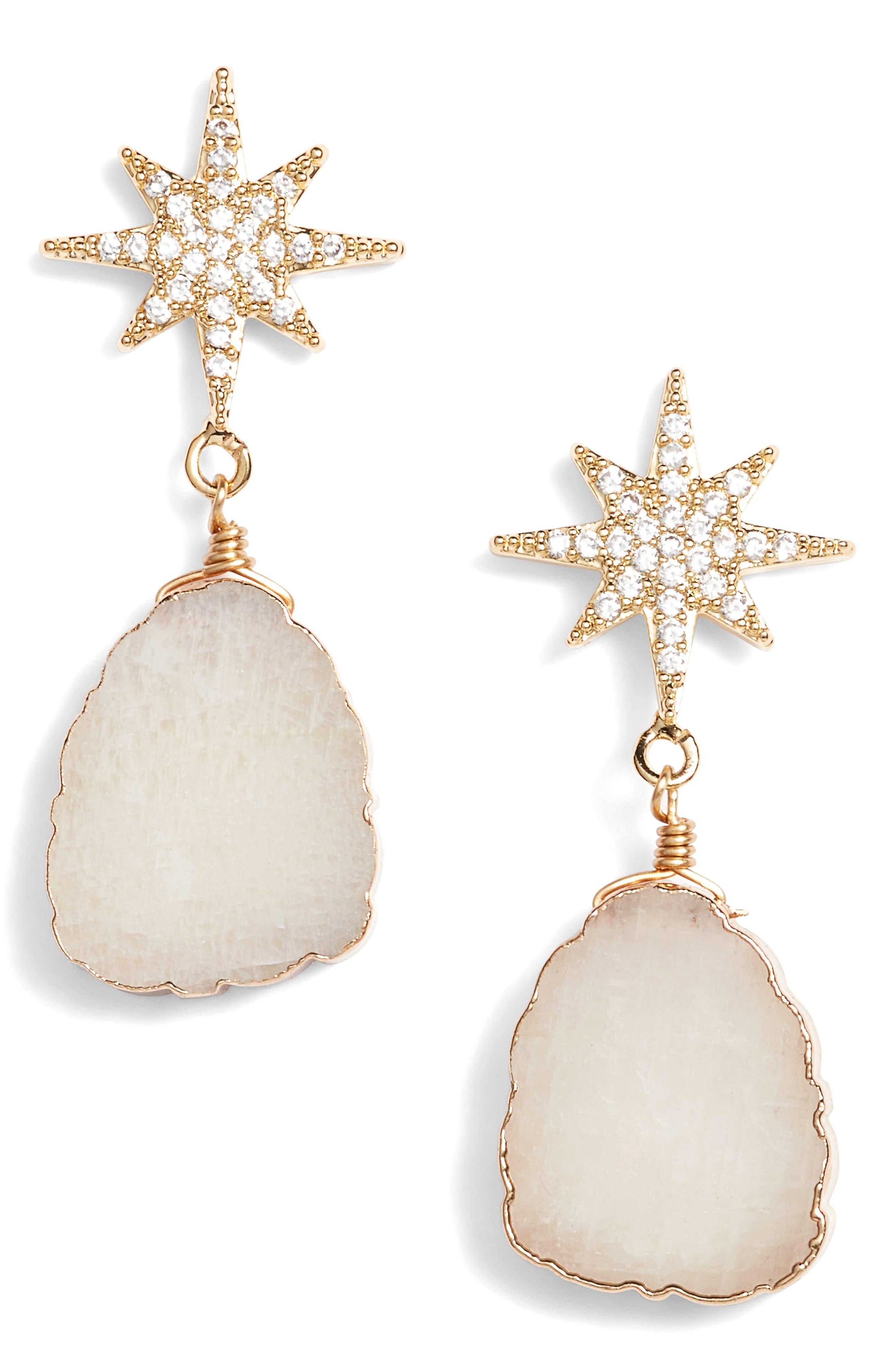 Starburst Slice Earrings,                         Main,                         color, Gold/ White