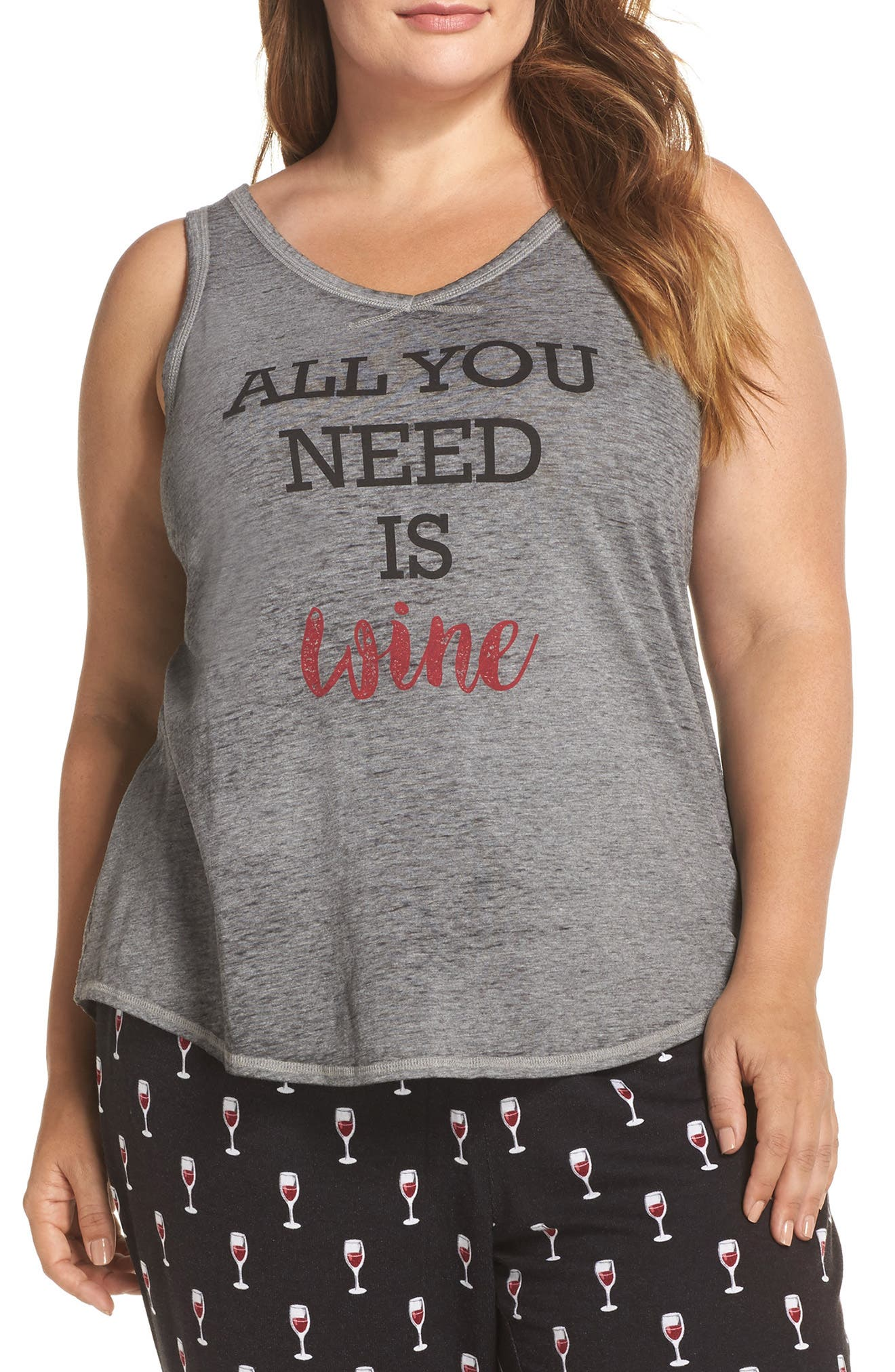 All You Need Is Wine Tank,                             Main thumbnail 1, color,                             Heather Grey