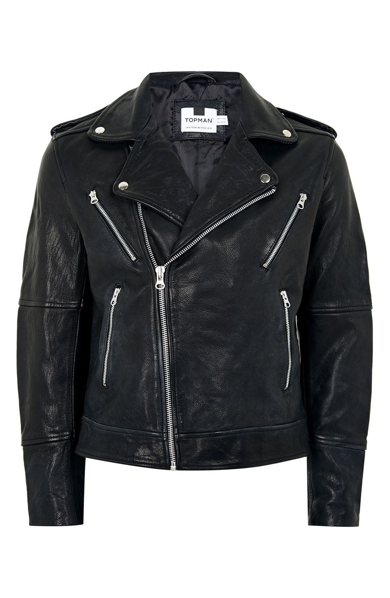 Print Leather Biker Jacket,                             Alternate thumbnail 4, color,                             Black Multi