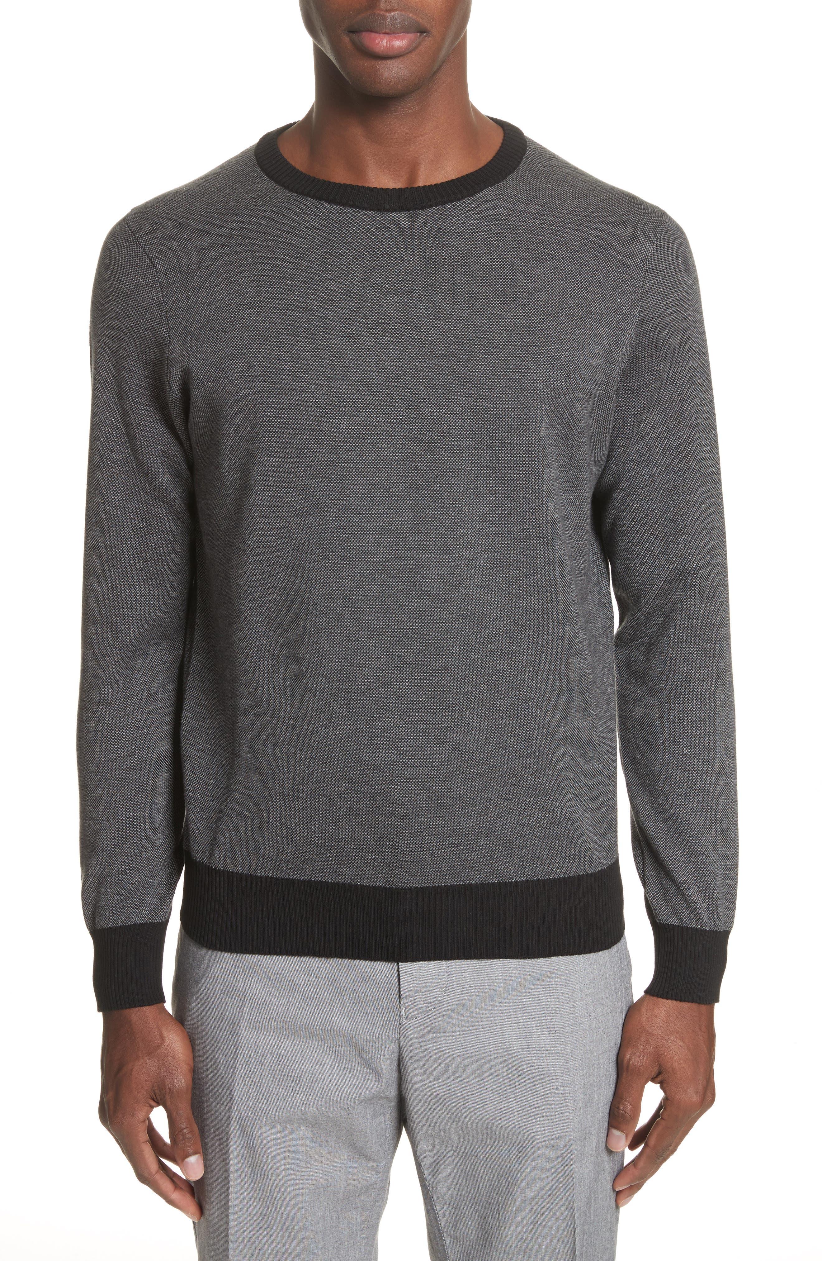 Textured Cotton Sweatshirt,                         Main,                         color, Charcoal