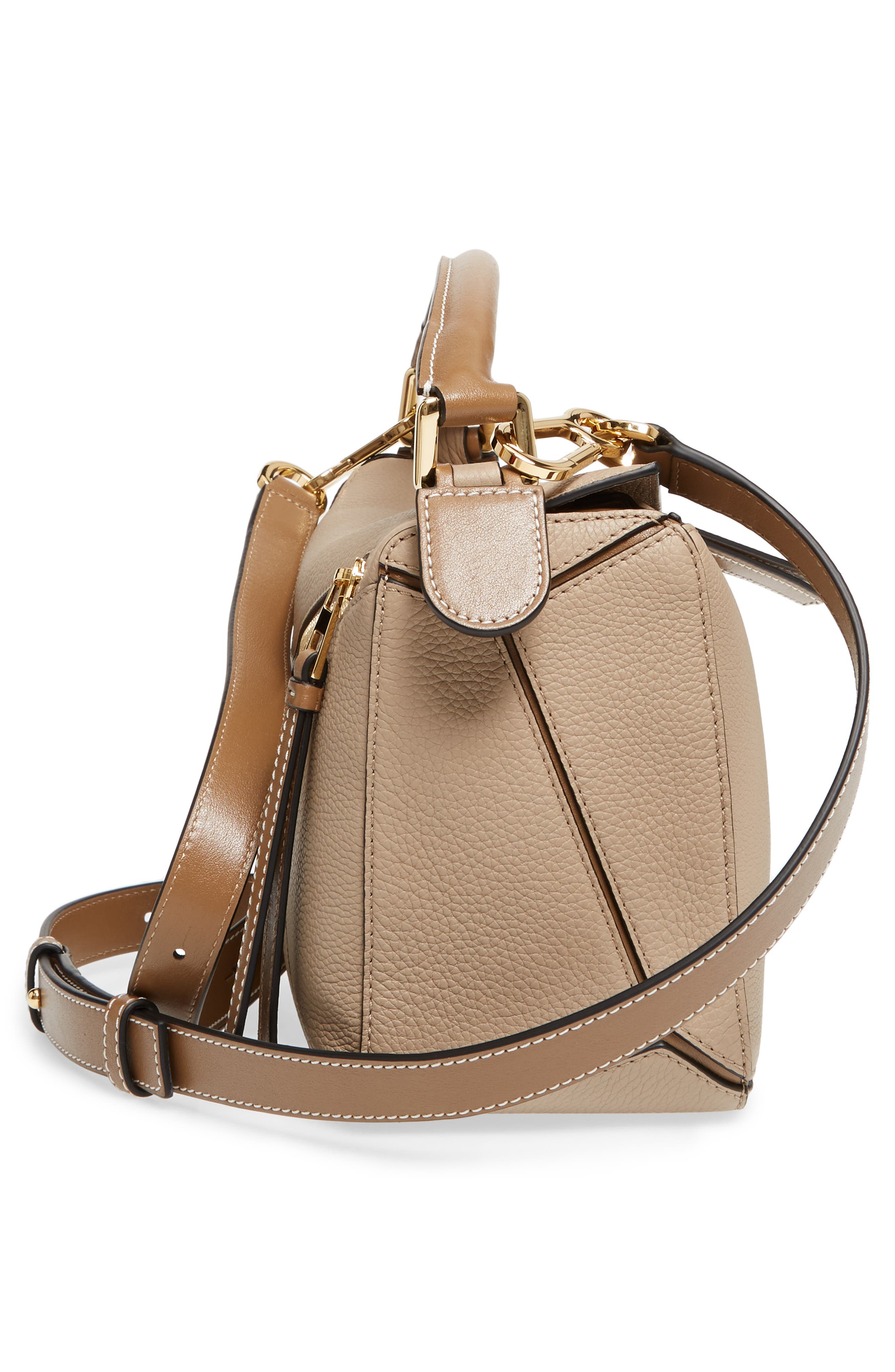 Small Puzzle Leather Bag,                             Alternate thumbnail 5, color,                             Sand/ Mink