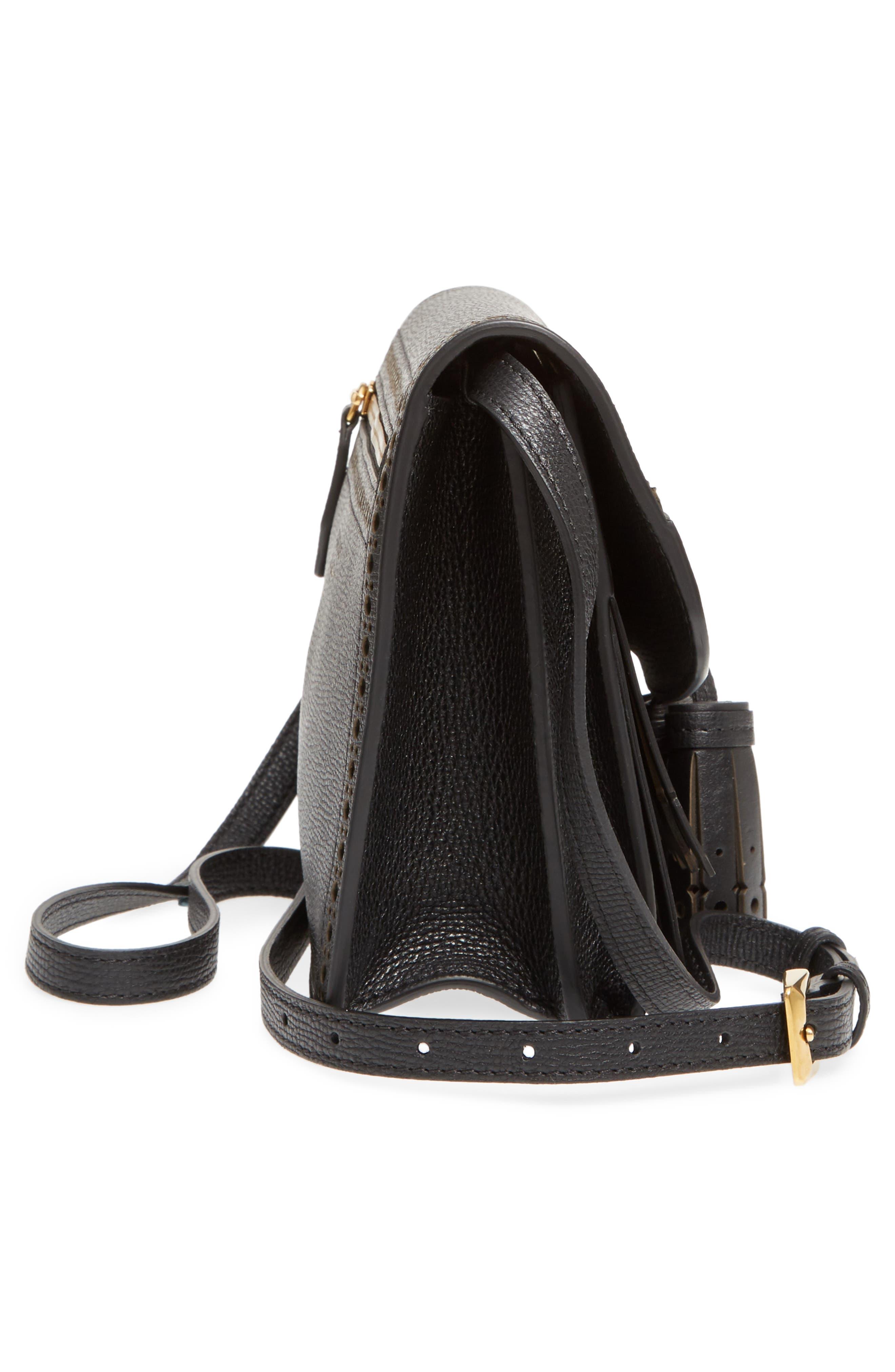 Macken Fringe Leather Crossbody Bag,                             Alternate thumbnail 5, color,                             Black