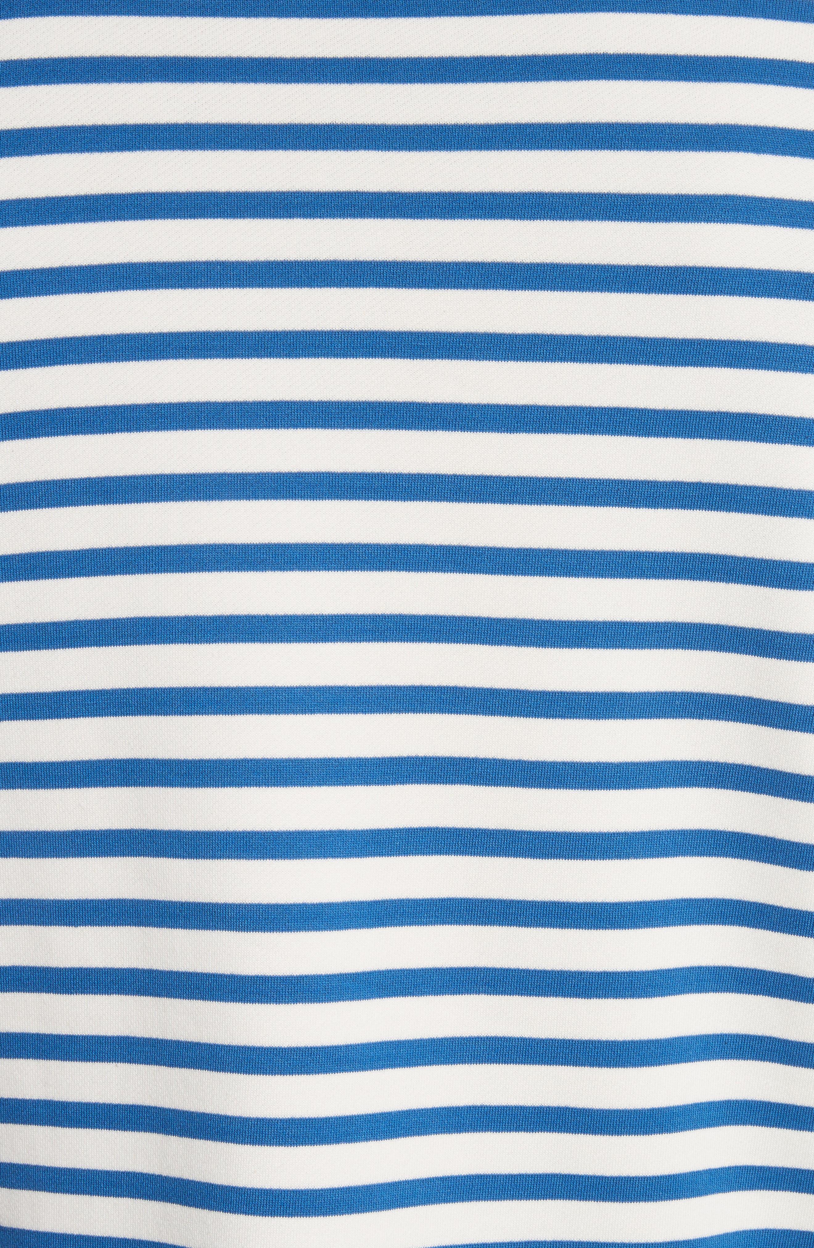 Stripe Crewneck Sweatshirt,                             Alternate thumbnail 5, color,                             Indigo