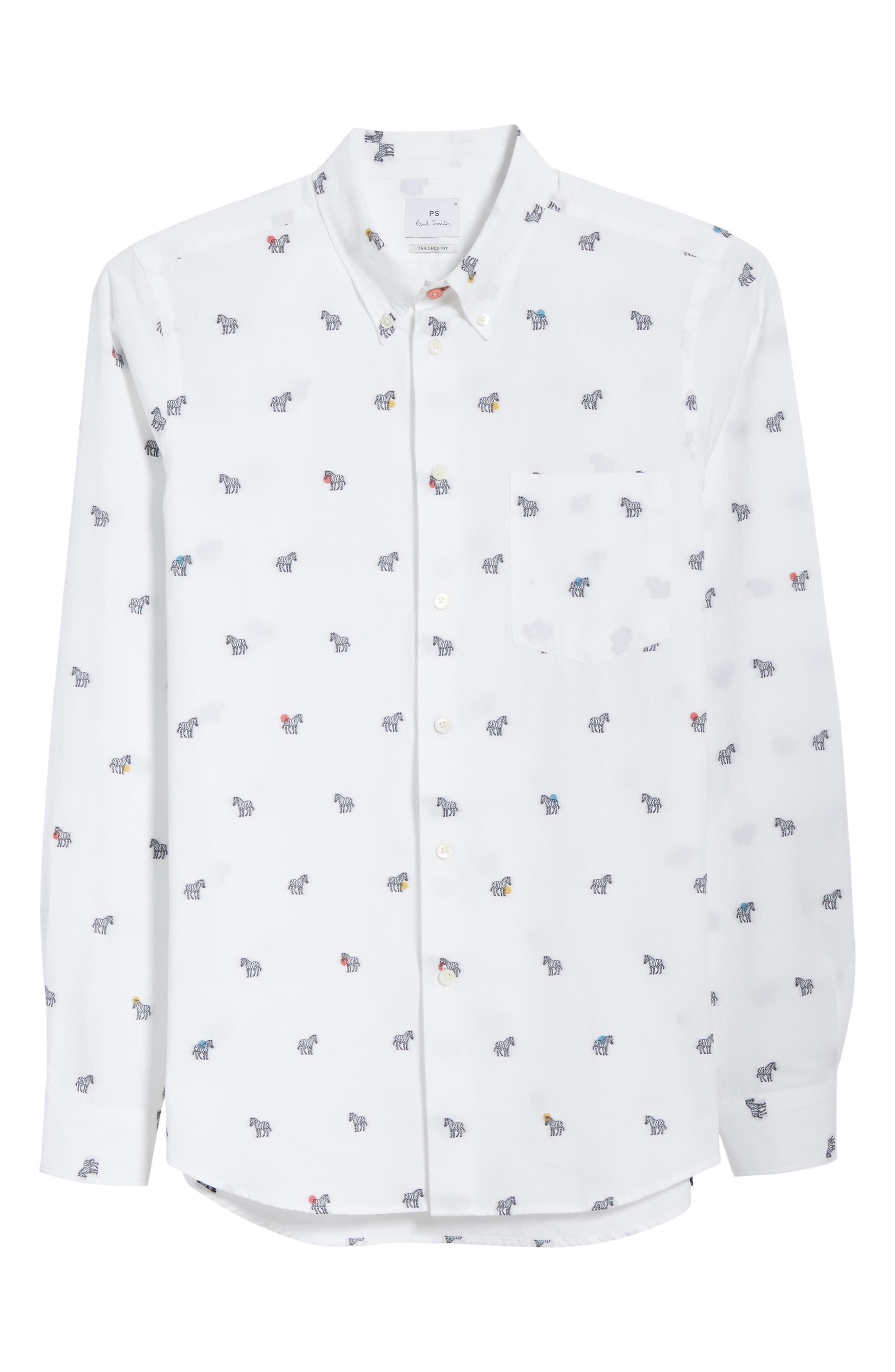 Allover Zebra Woven Shirt,                             Alternate thumbnail 6, color,                             White