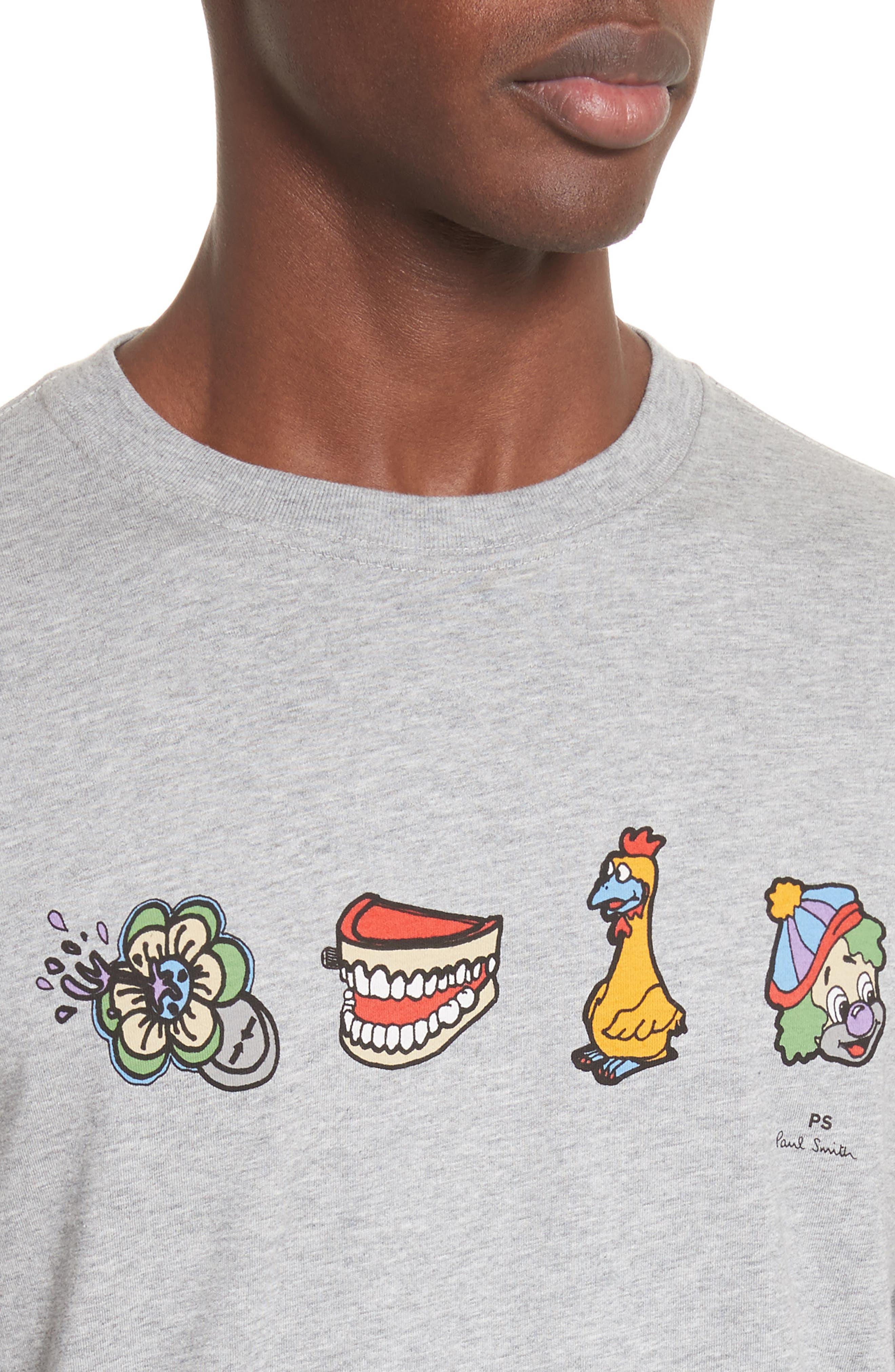 Clown Graphic T-Shirt,                             Alternate thumbnail 4, color,                             Grey