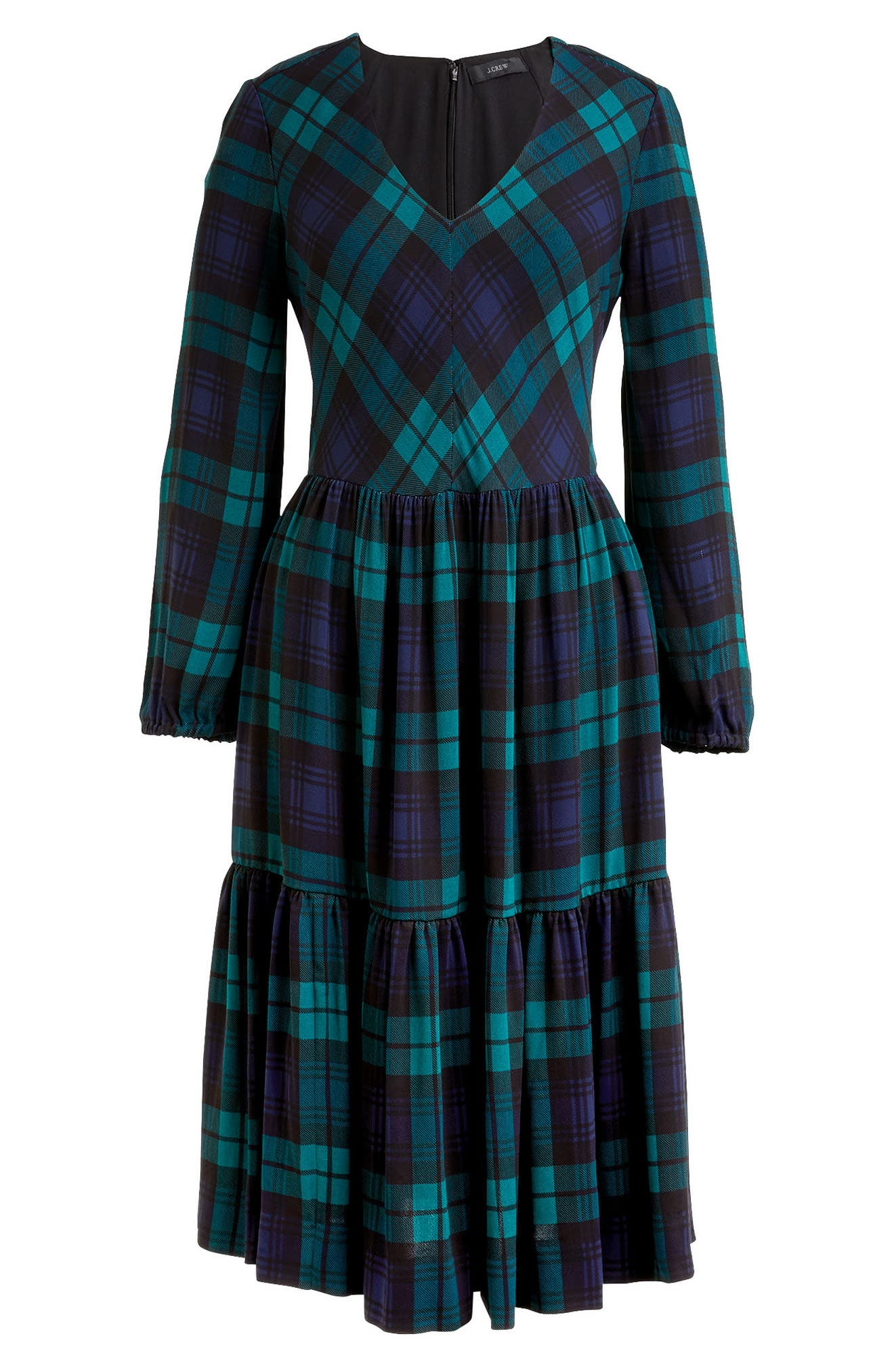 J.Crew Drapey Dress in Black Watch Plaid,                             Alternate thumbnail 3, color,                             Blue/ Green
