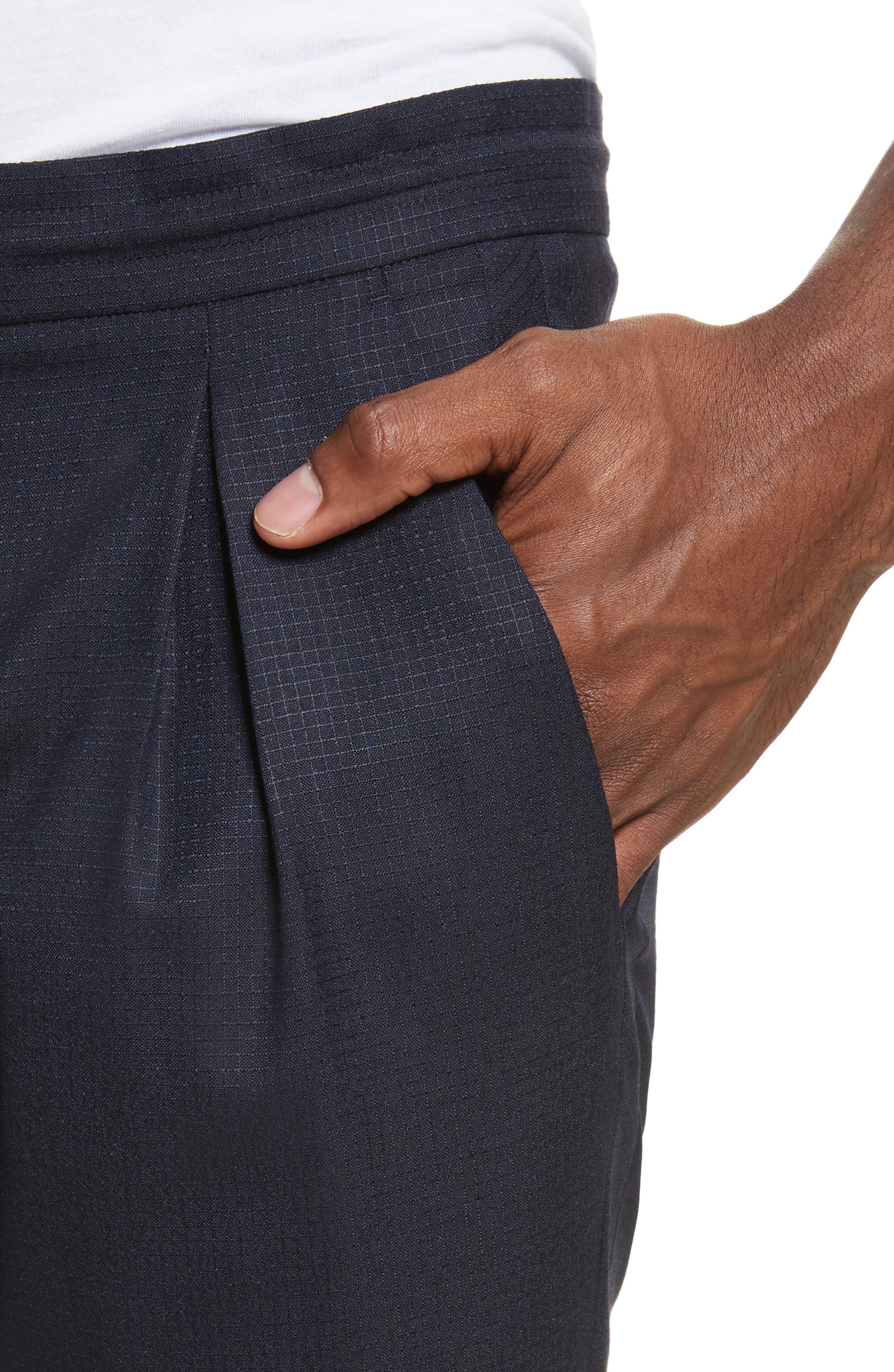 Wool & Silk Jogger Pants,                             Alternate thumbnail 4, color,                             48 Blue