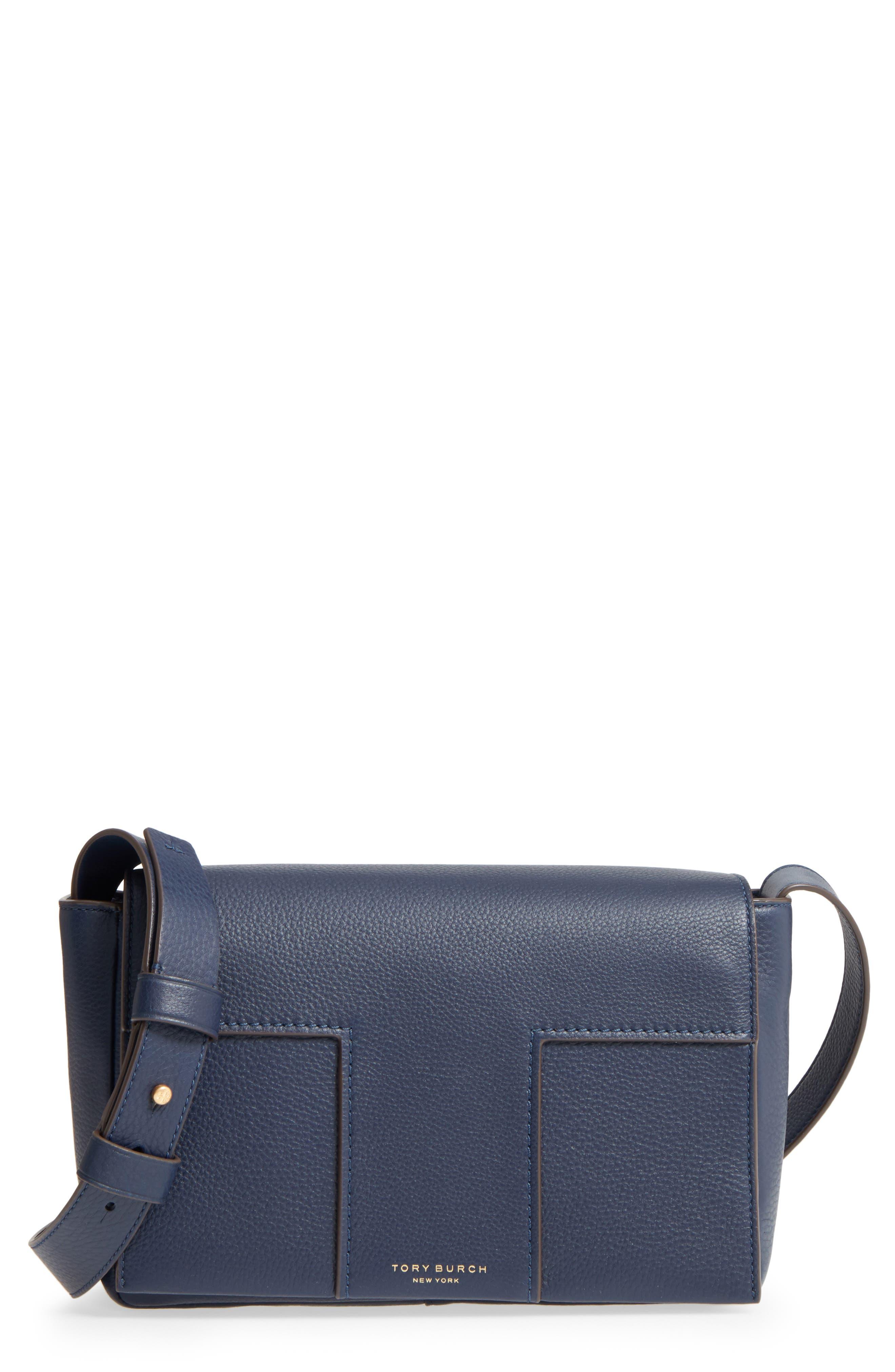 Alternate Image 1 Selected - Tory Burch Block-T Pebbled Leather Shoulder Bag