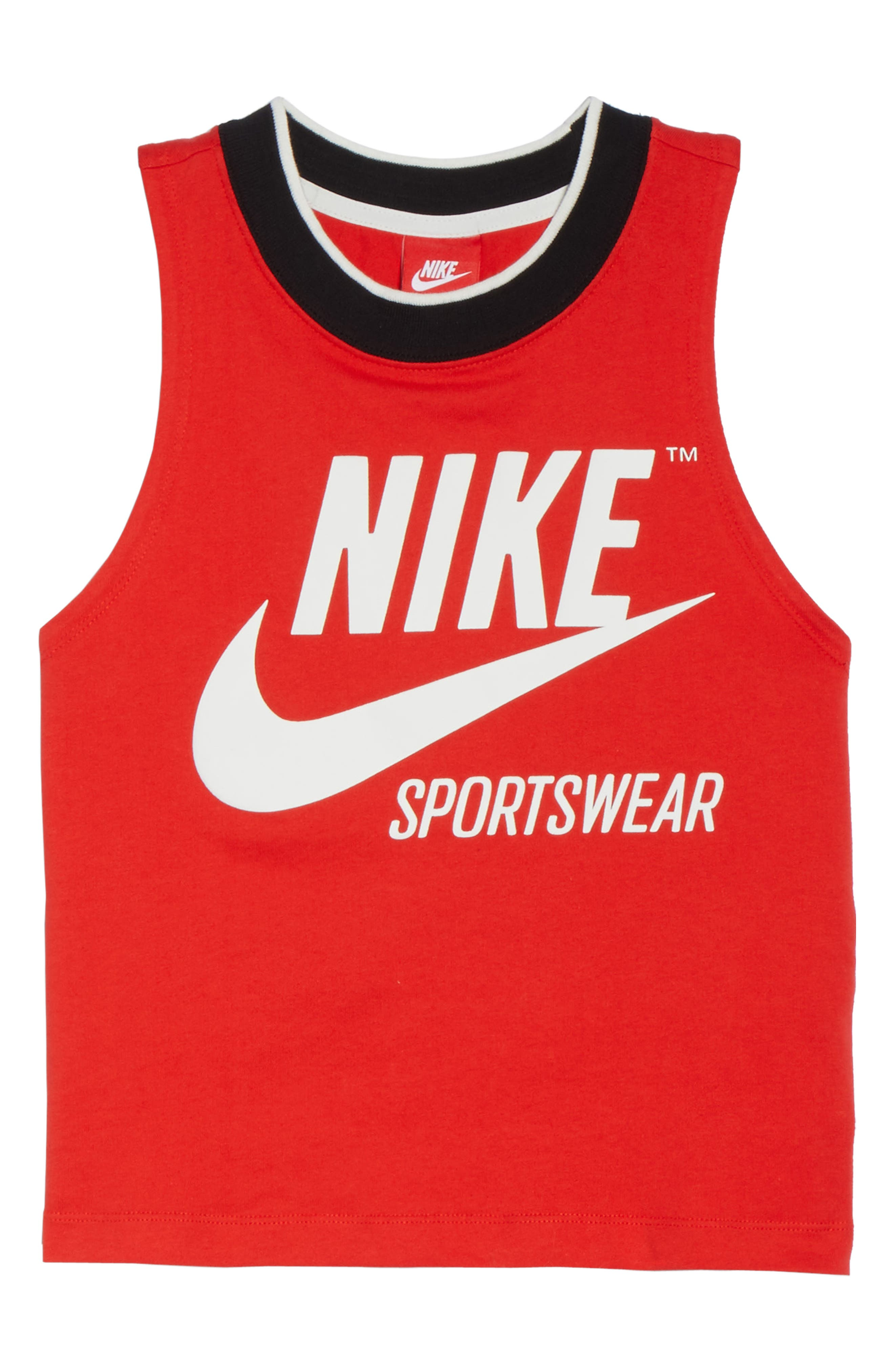 Sportswear Archive Crop Tank,                             Alternate thumbnail 7, color,                             Rush Red/ Sail