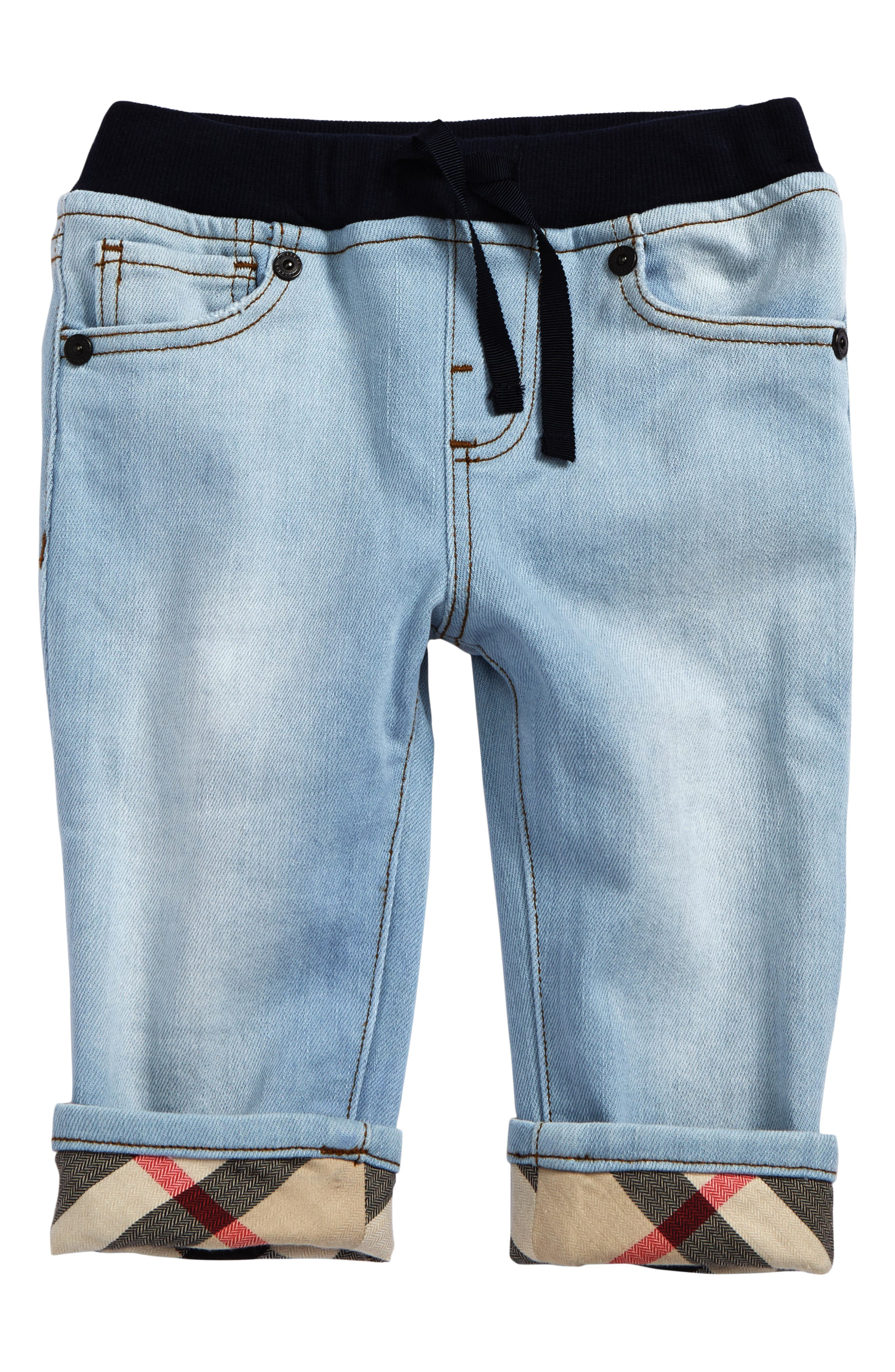 Burberry Check Cuff Pull-On Jeans (Baby Boys)