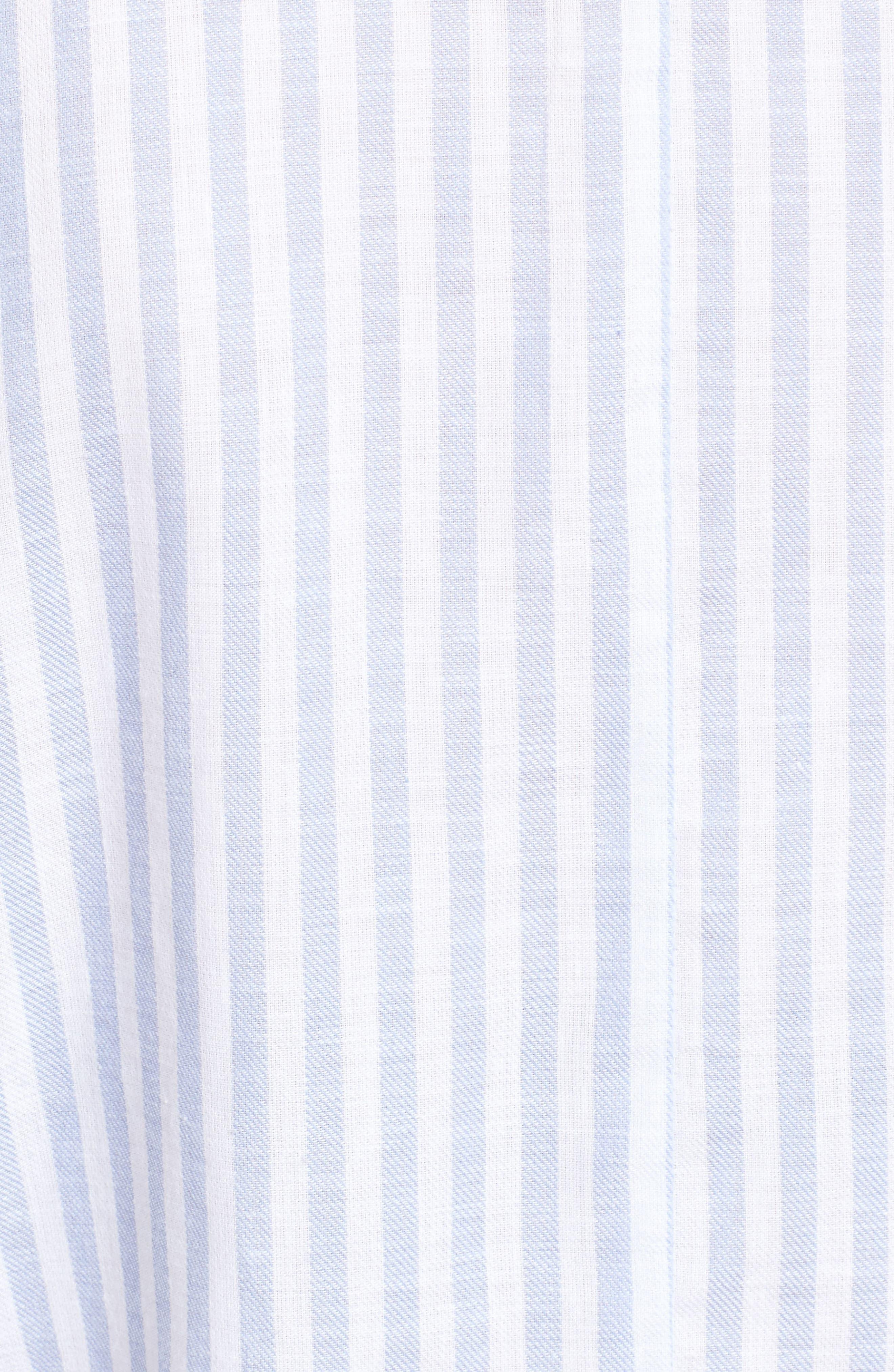 Saundra Tie Waist Crop Shirt,                             Alternate thumbnail 5, color,                             French Blue