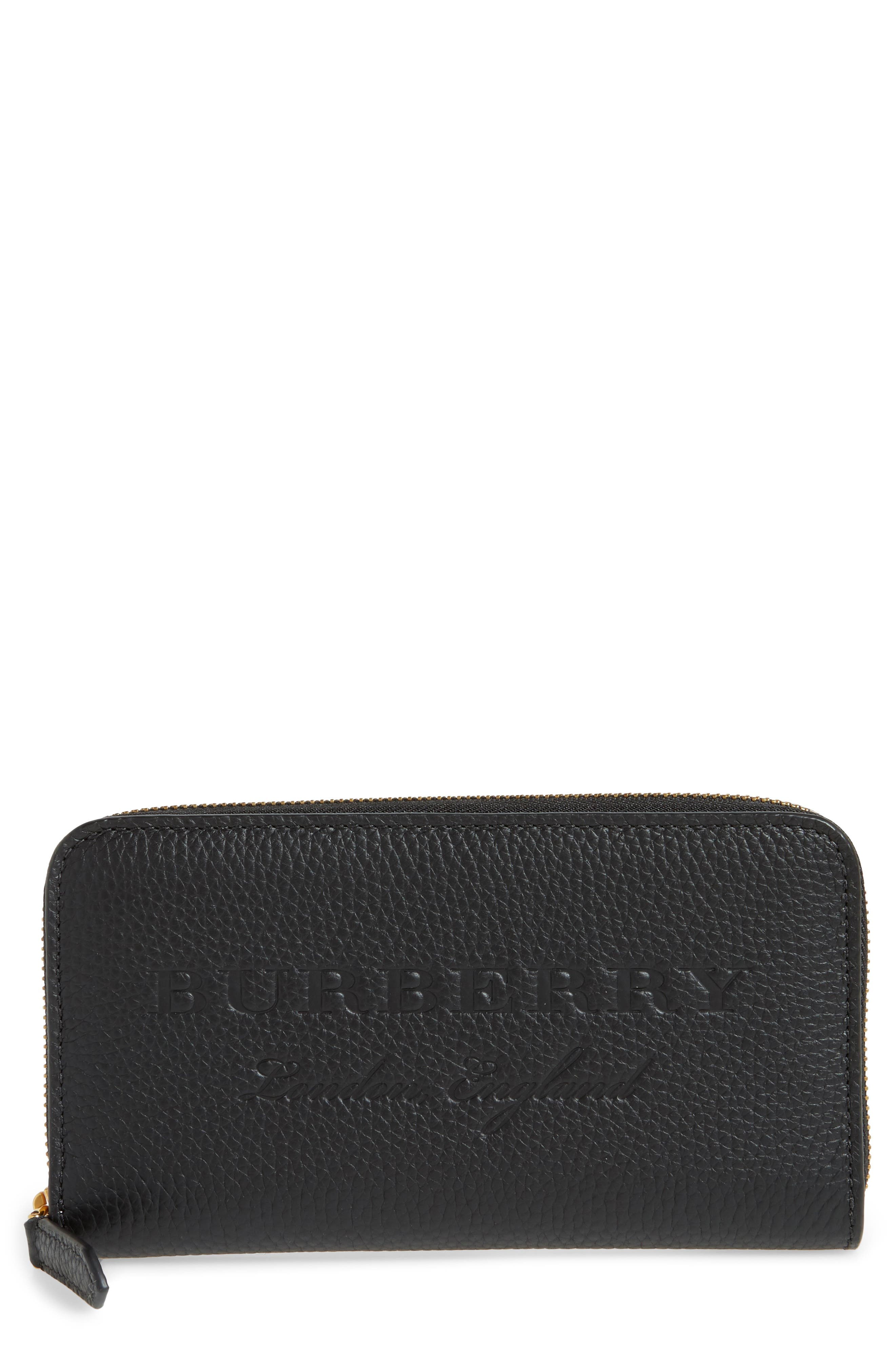 Leather Zip-Around Wallet,                             Main thumbnail 1, color,                             Black