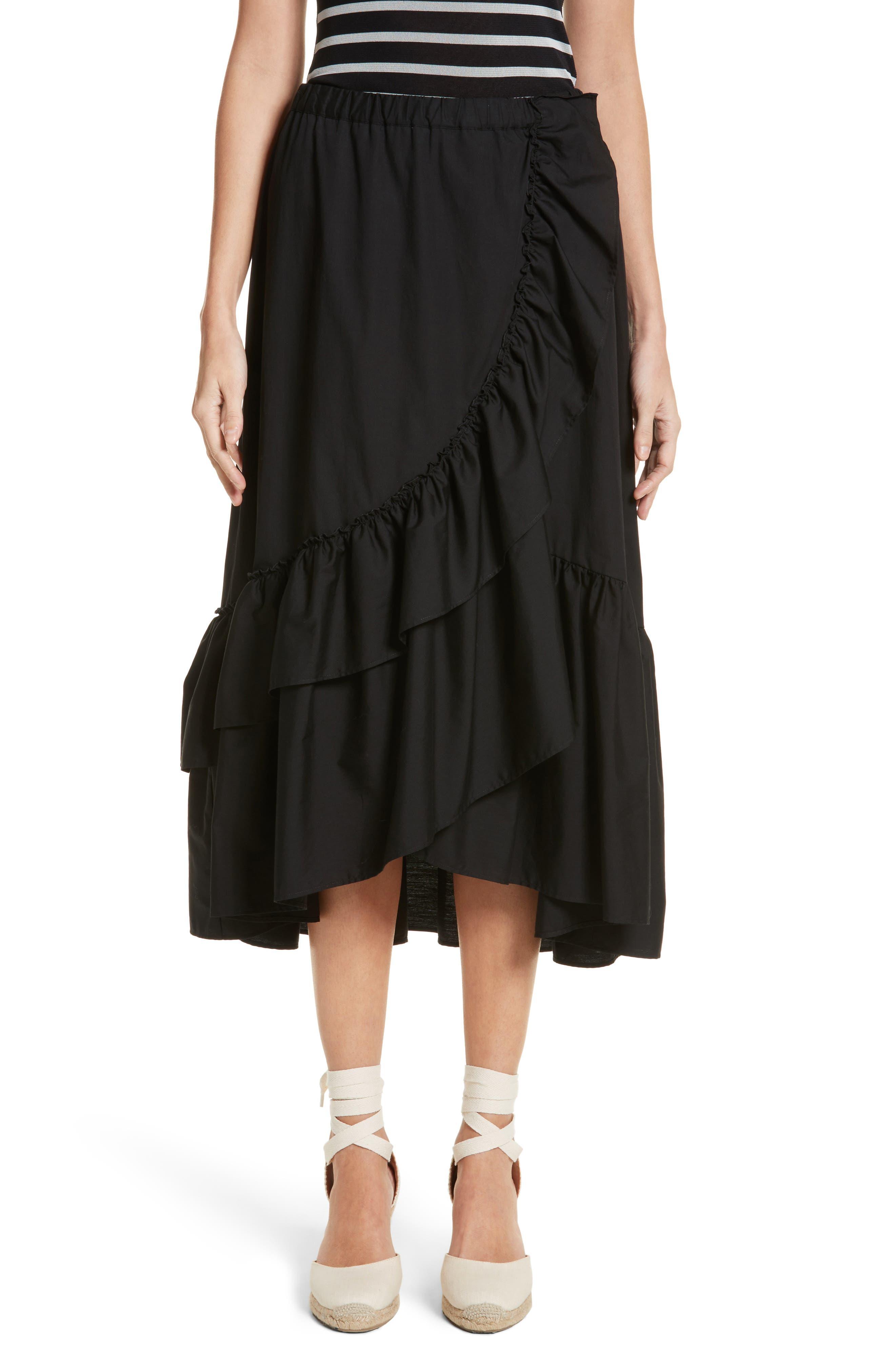 Ruffled Poplin Skirt,                         Main,                         color, Nero