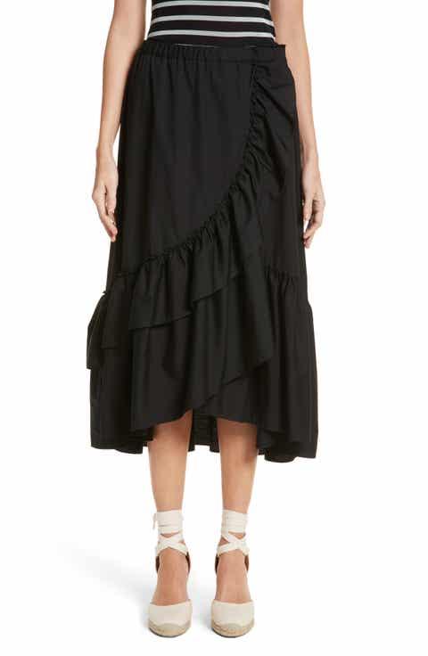 Fuzzi Ruffled Poplin Skirt