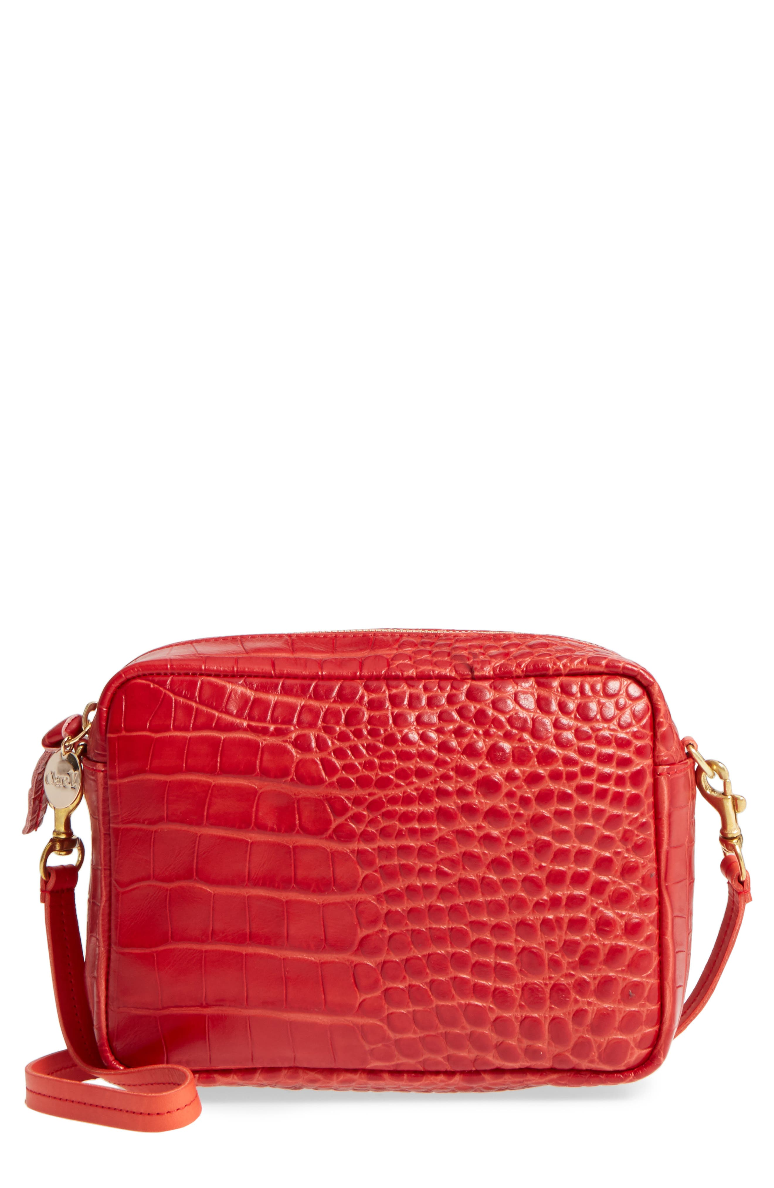 Alternate Image 1 Selected - Clare V. Midi Sac Supreme Croc Embossed Leather Crossbody Bag