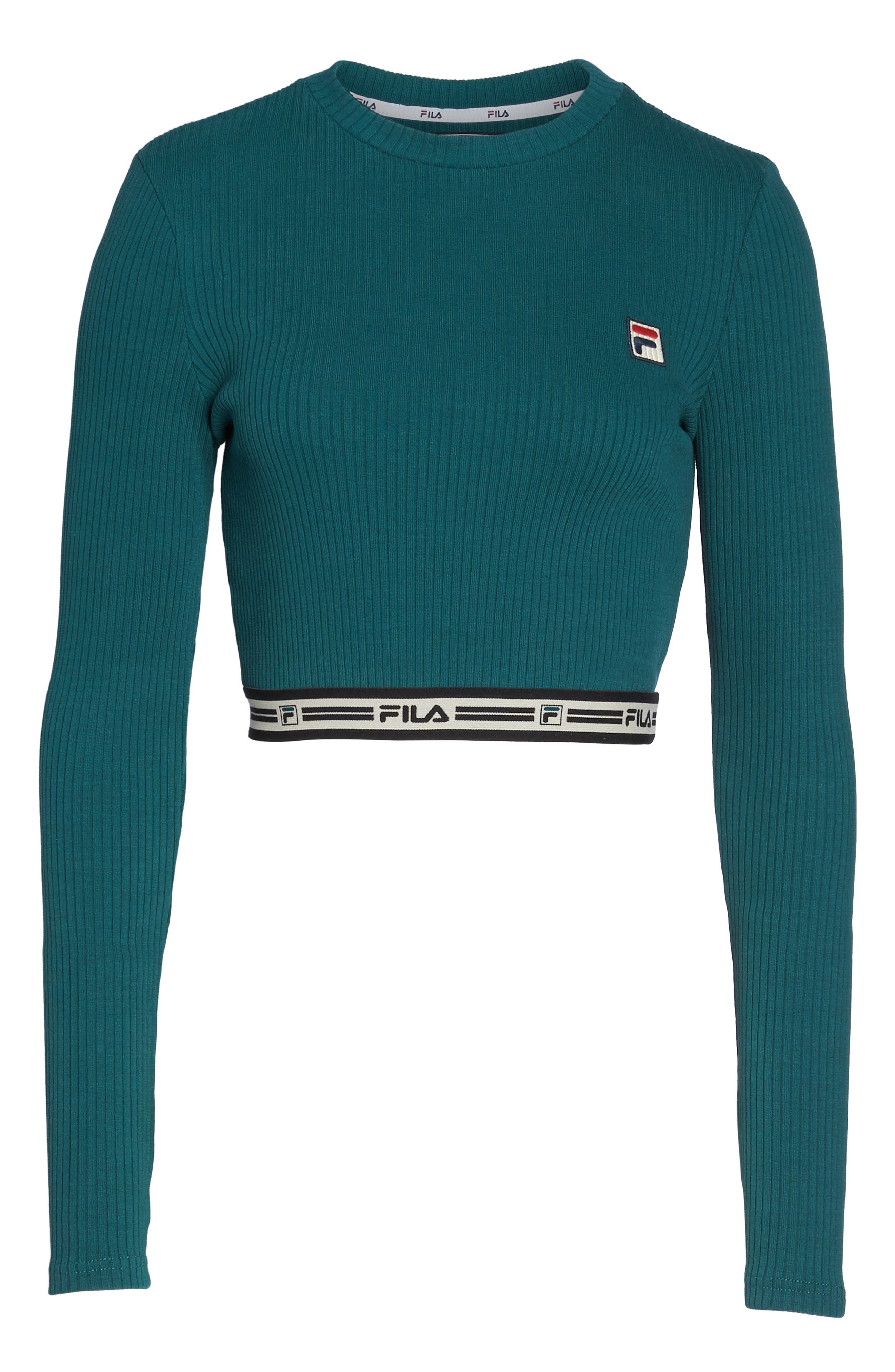 Colleen Long Sleeve Crop Top,                         Main,                         color, Deep Teal/ Gardenia/ Black