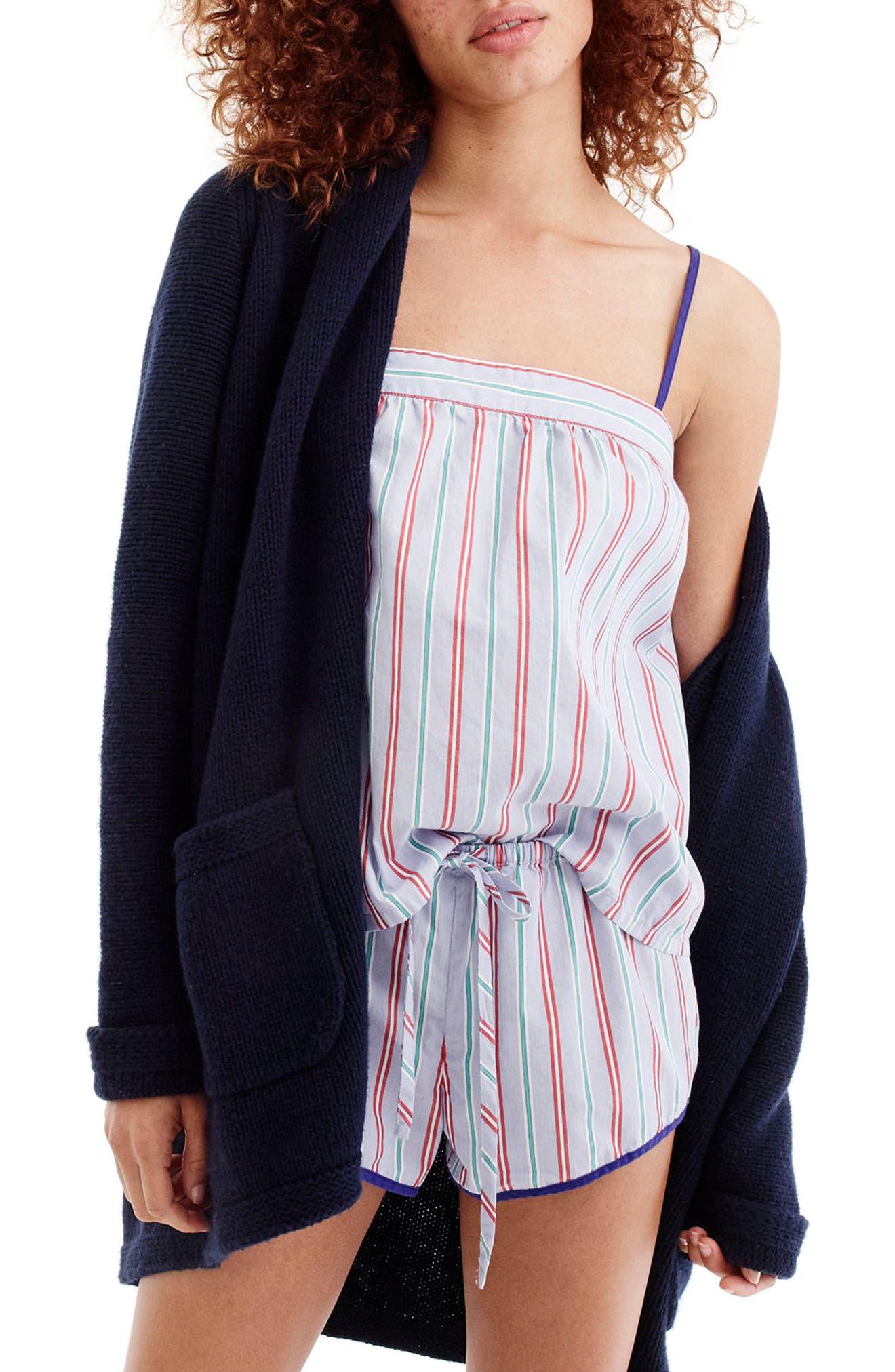 J.Crew Candy Stripe Short Pajamas,                             Alternate thumbnail 3, color,                             Holiday Stripe