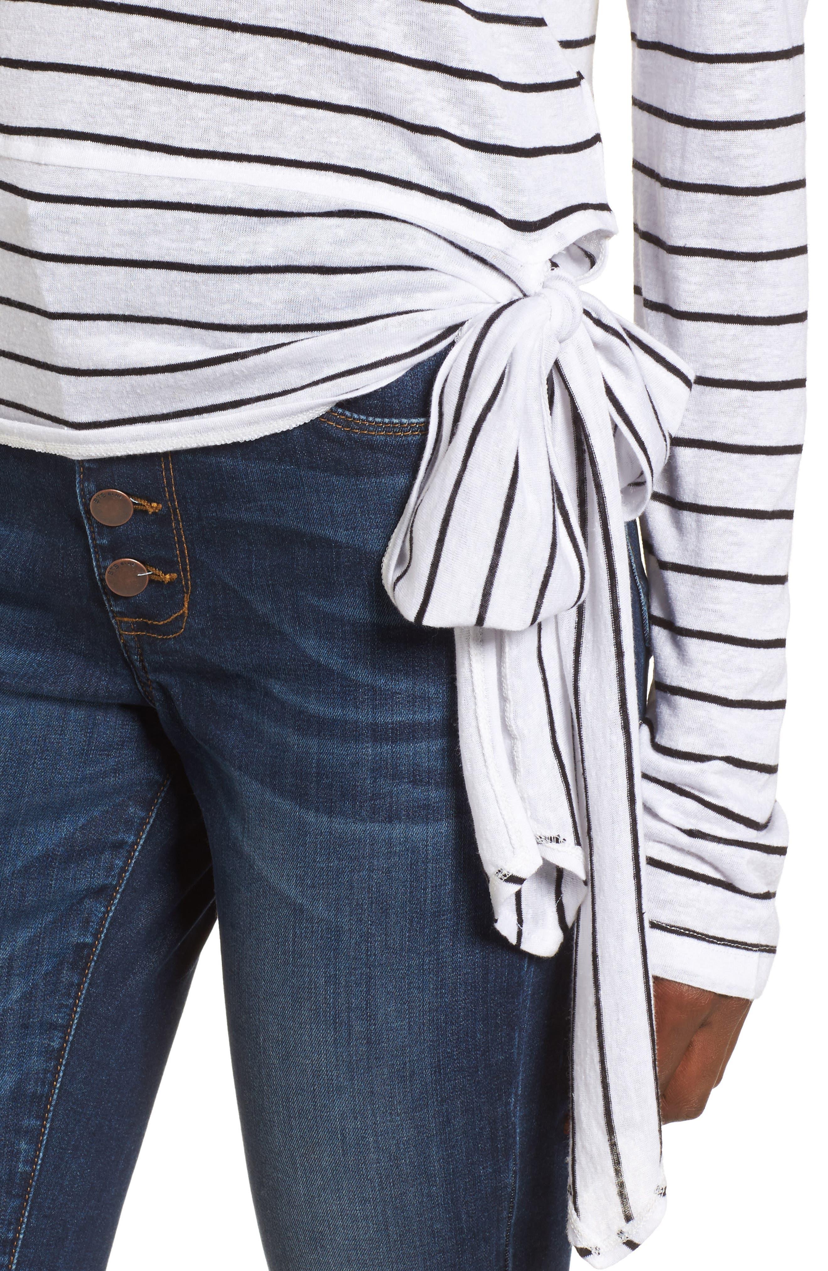 Side Tie Stripe Tee,                             Alternate thumbnail 4, color,                             White Jenna Stripe
