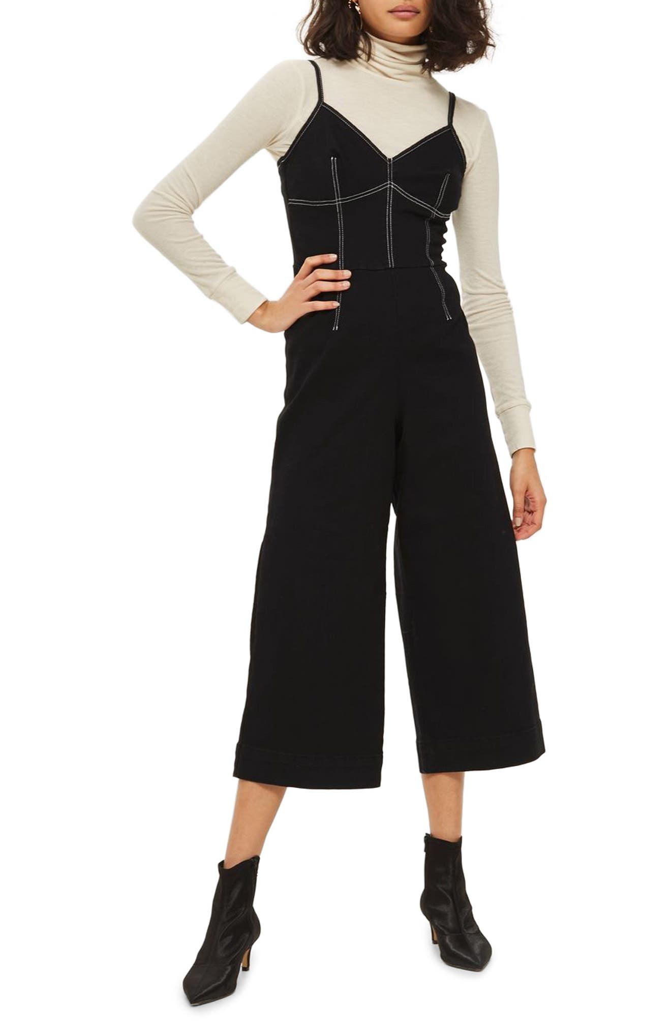 Contrast Stitch Jumpsuit,                             Main thumbnail 1, color,                             Black