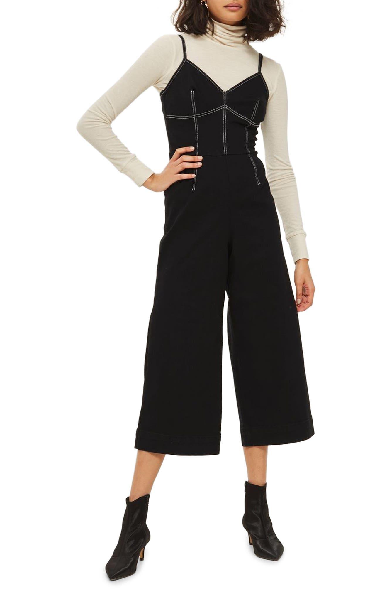 Main Image - Topshop Contrast Stitch Jumpsuit