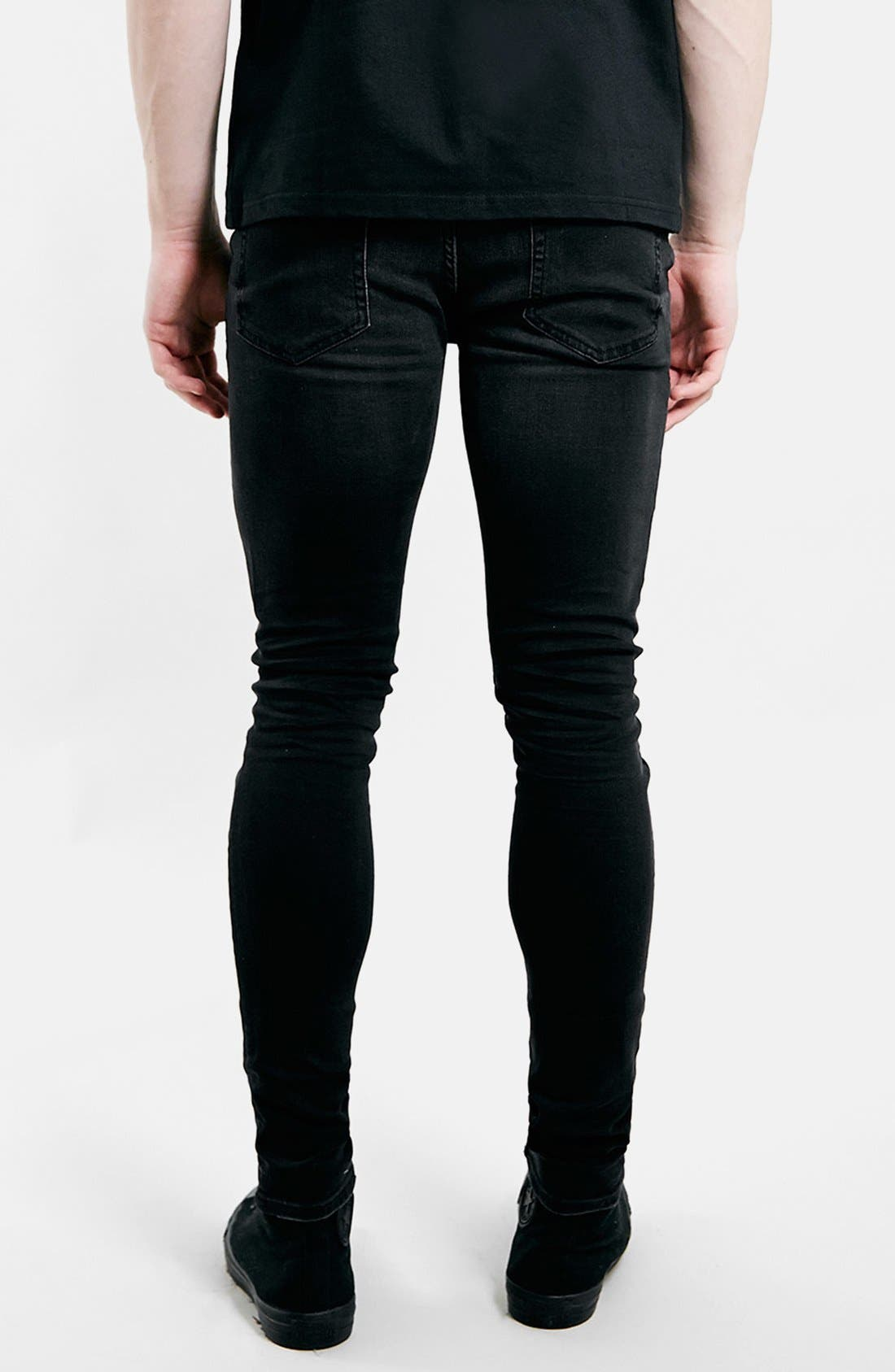 Ripped Spray On Skinny Jeans,                             Alternate thumbnail 3, color,                             Black