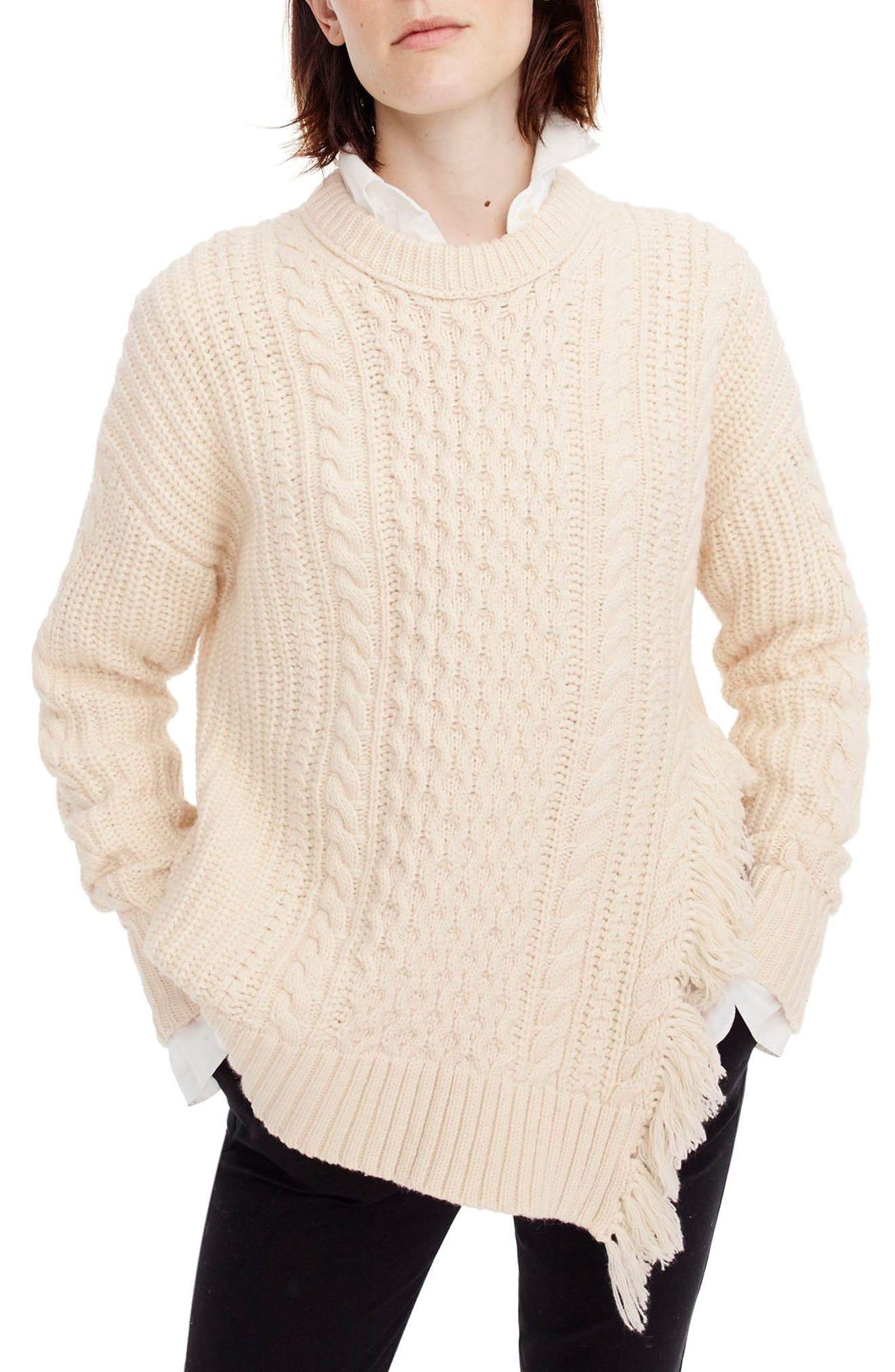 J.Crew Fringe Detail Cable Knit Sweater,                         Main,                         color, Ivory