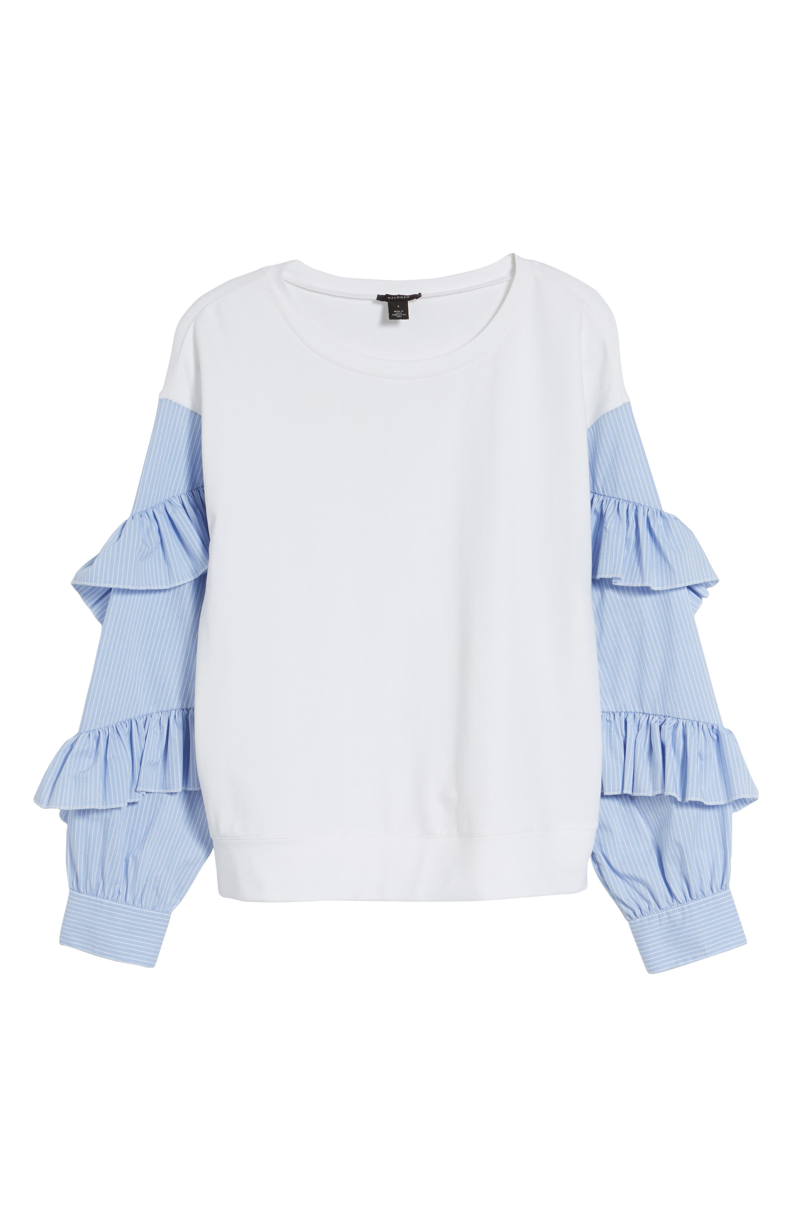 Alternate Image 6  - Halogen® Poplin Ruffle Sleeve Sweatshirt (Regular & Petite)