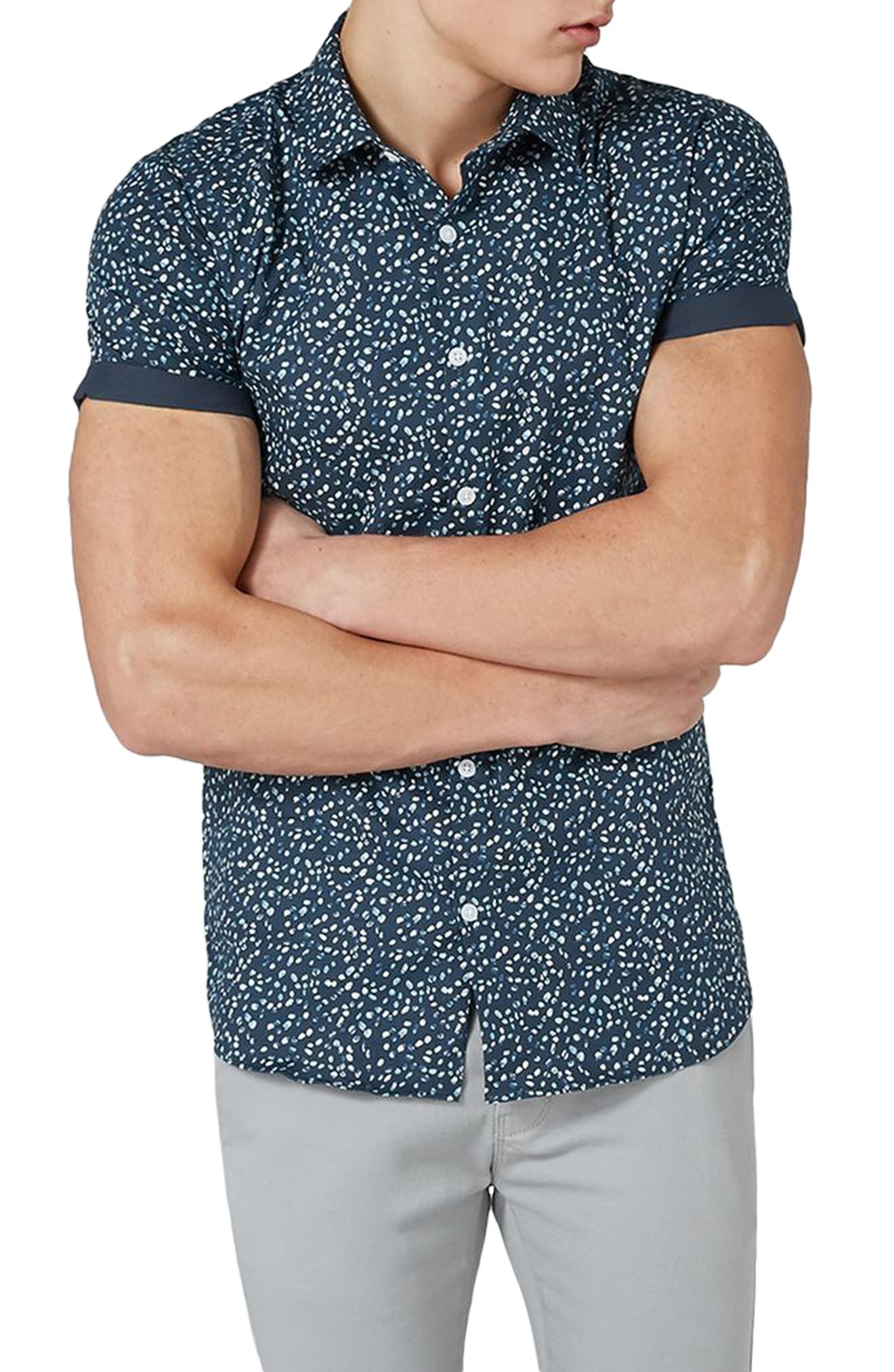 Muscle Fit Marble Print Shirt,                         Main,                         color, Blue Multi