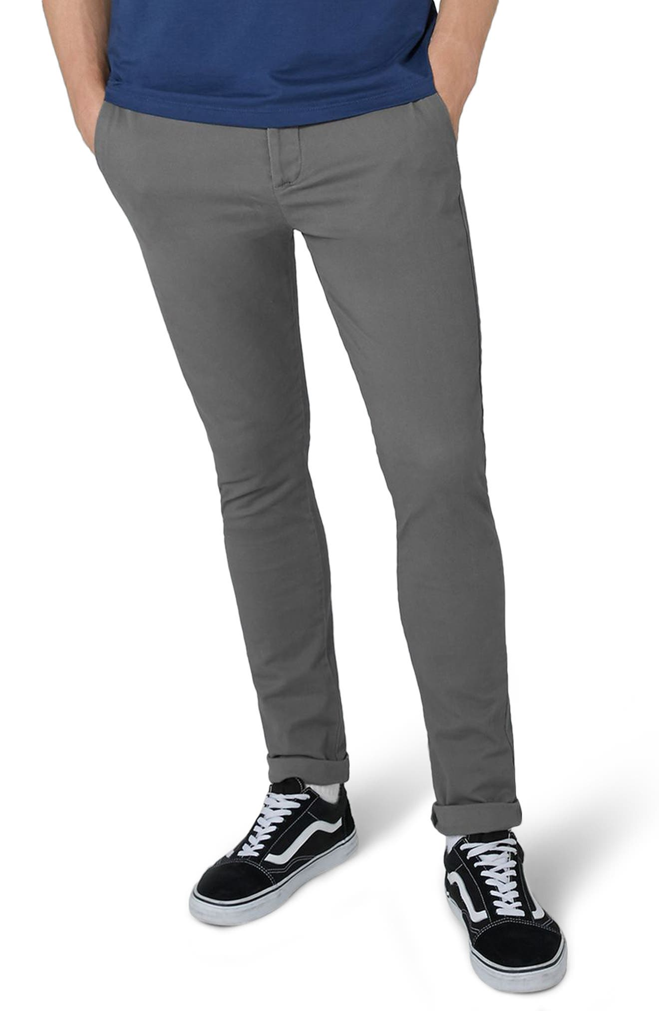 Stretch Skinny Fit Chinos,                             Main thumbnail 1, color,                             Grey