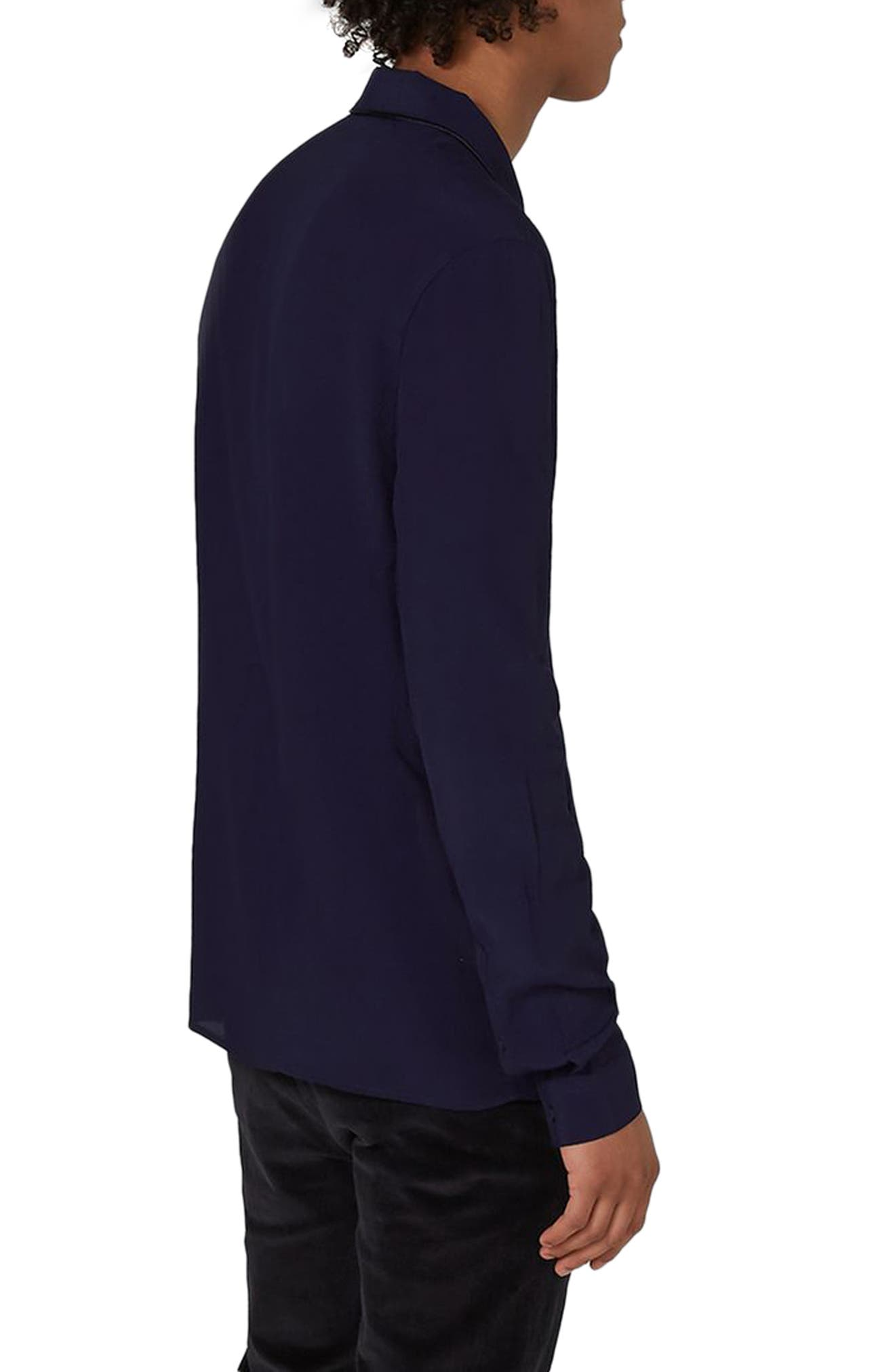 Piped Crepe Shirt,                             Alternate thumbnail 2, color,                             Navy Blue
