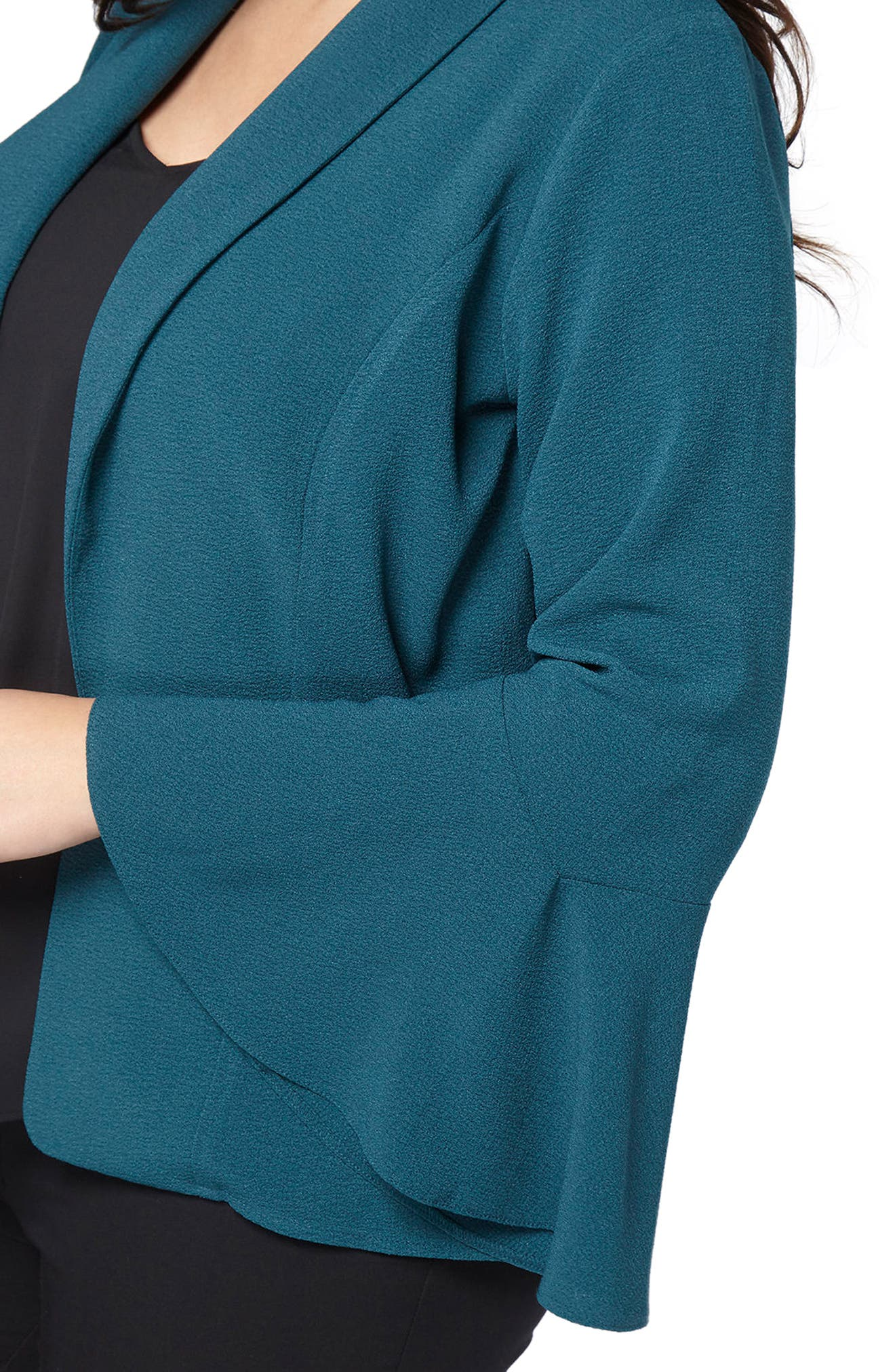 Bell Sleeve Crepe Jacket,                             Alternate thumbnail 4, color,                             Teal