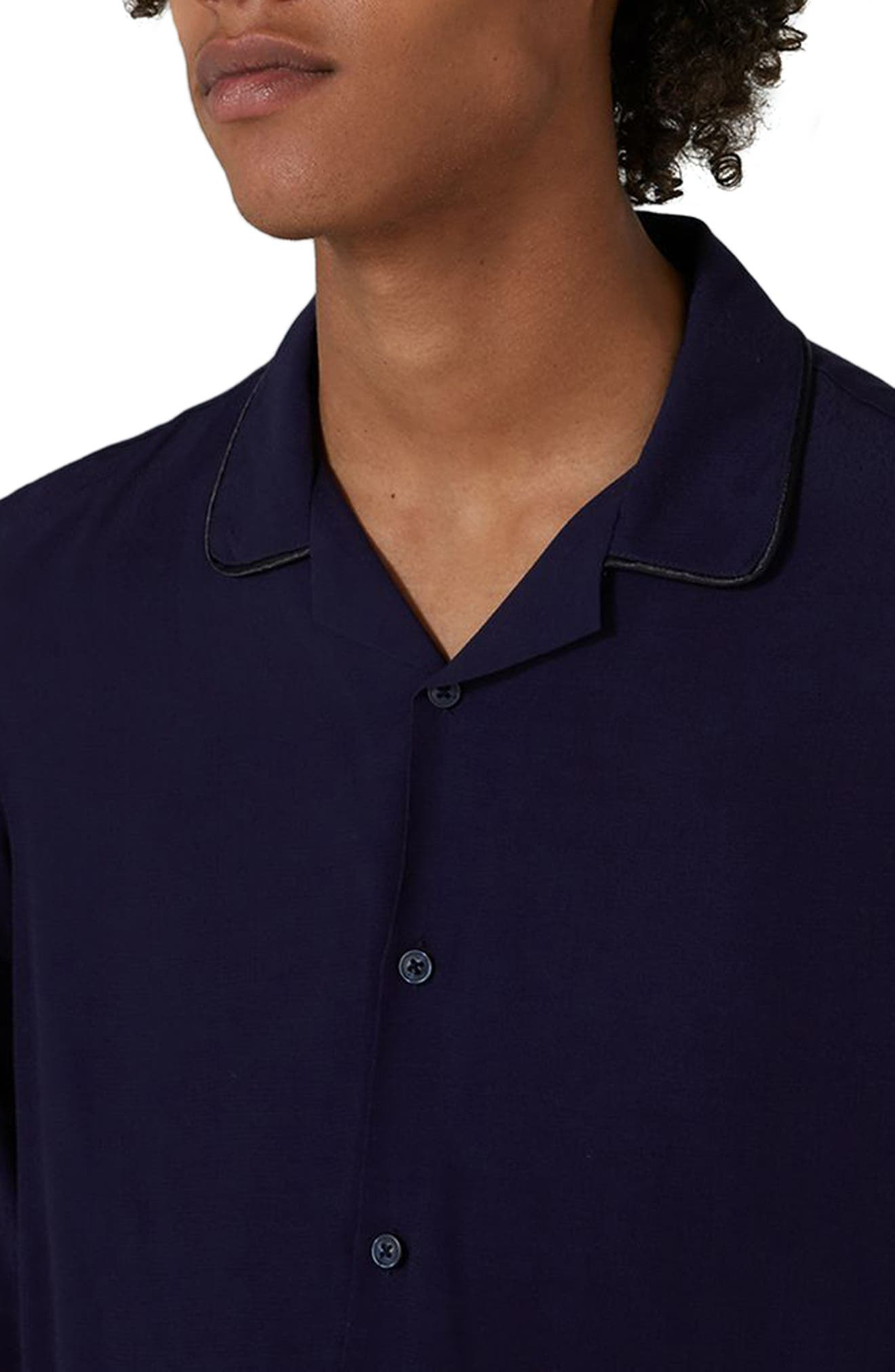 Piped Crepe Shirt,                             Alternate thumbnail 3, color,                             Navy Blue