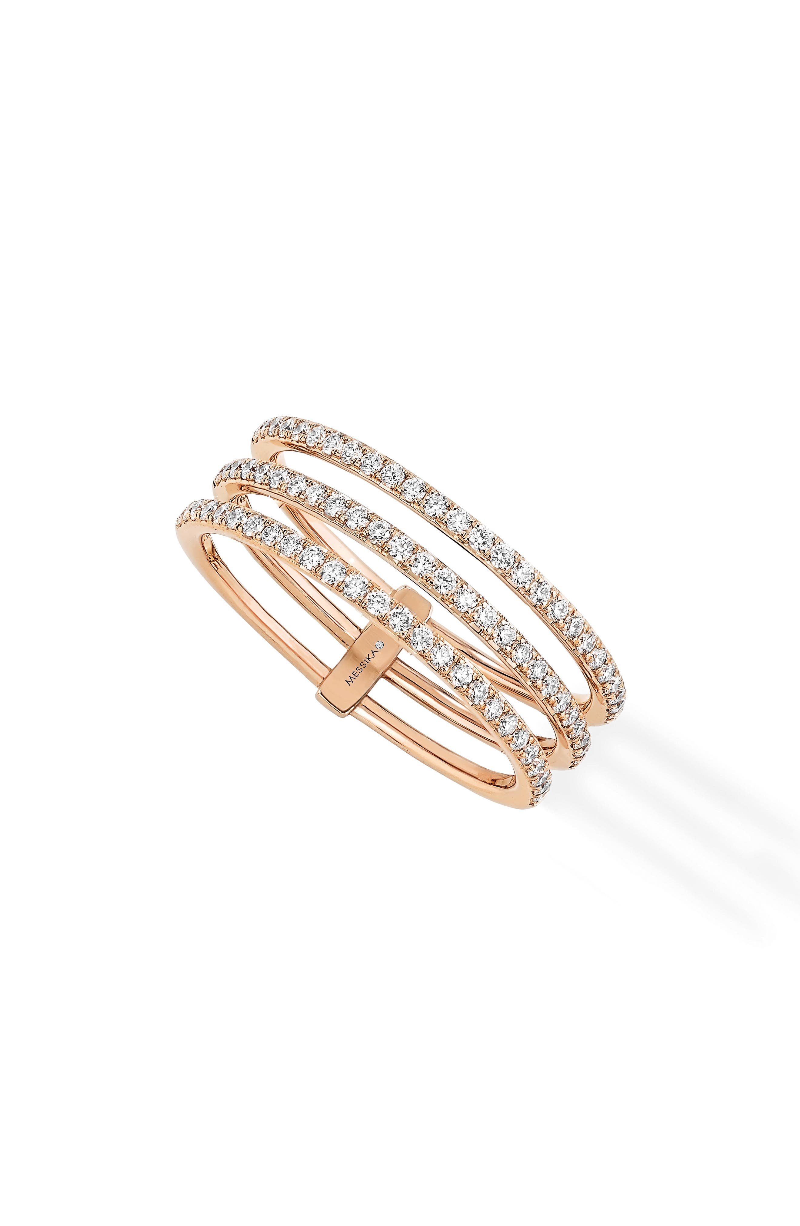 3-Row Diamond Ring,                         Main,                         color, Rose Gold