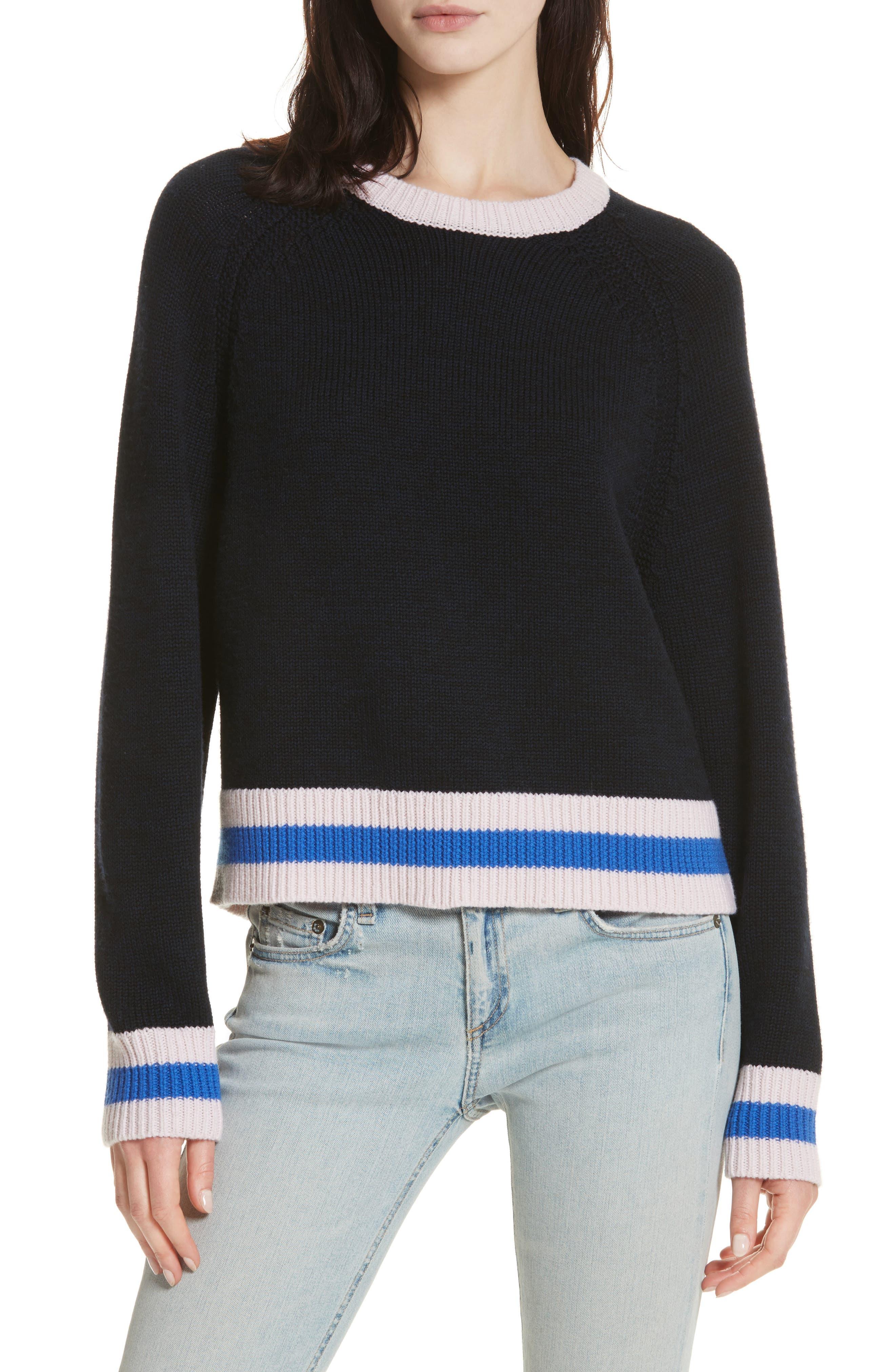 Hattie Crewneck Merino Wool Sweater,                             Main thumbnail 1, color,                             Navy