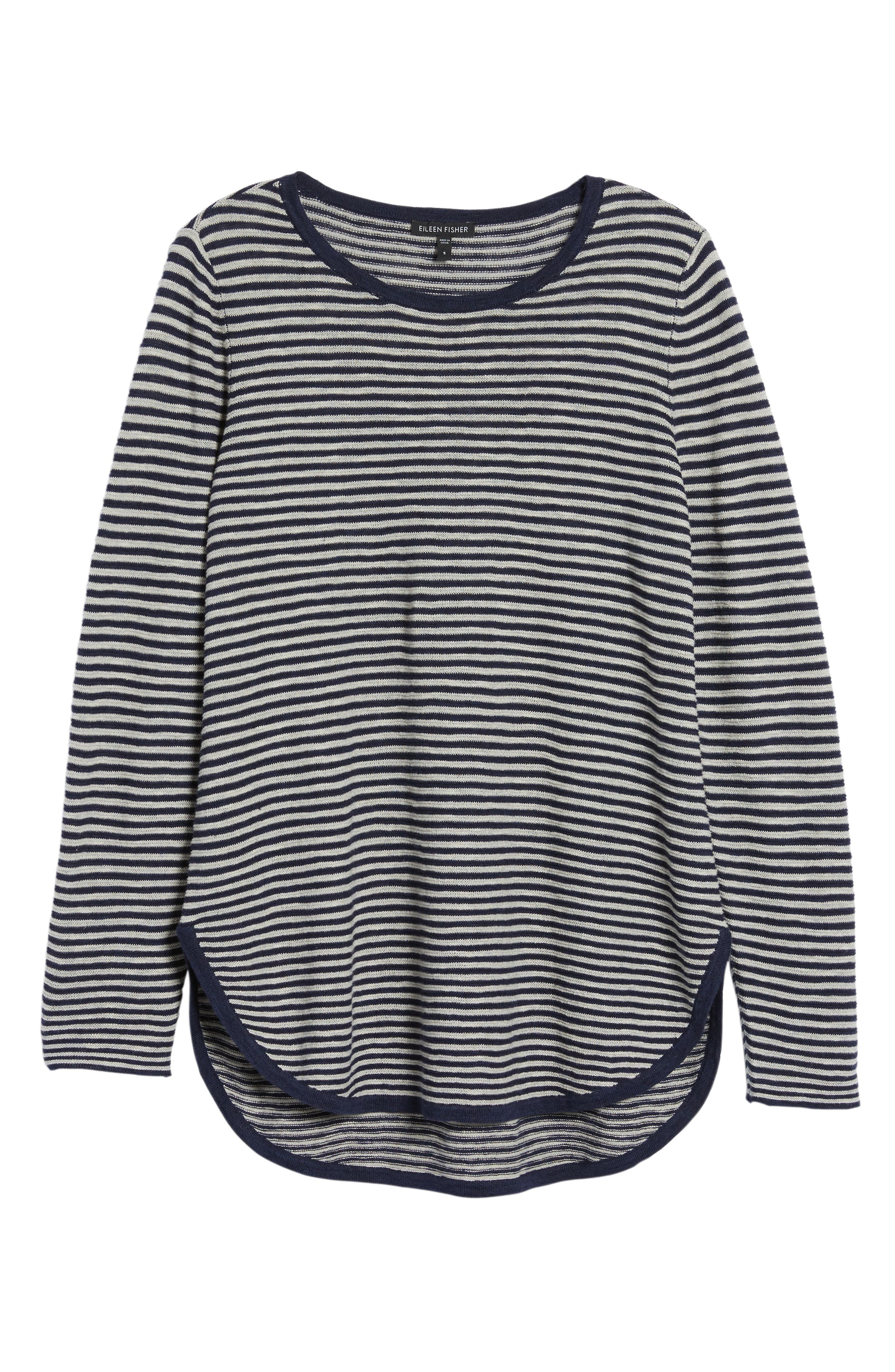 Stripe Organic Linen & Cotton Sweater,                             Alternate thumbnail 6, color,                             Midnight