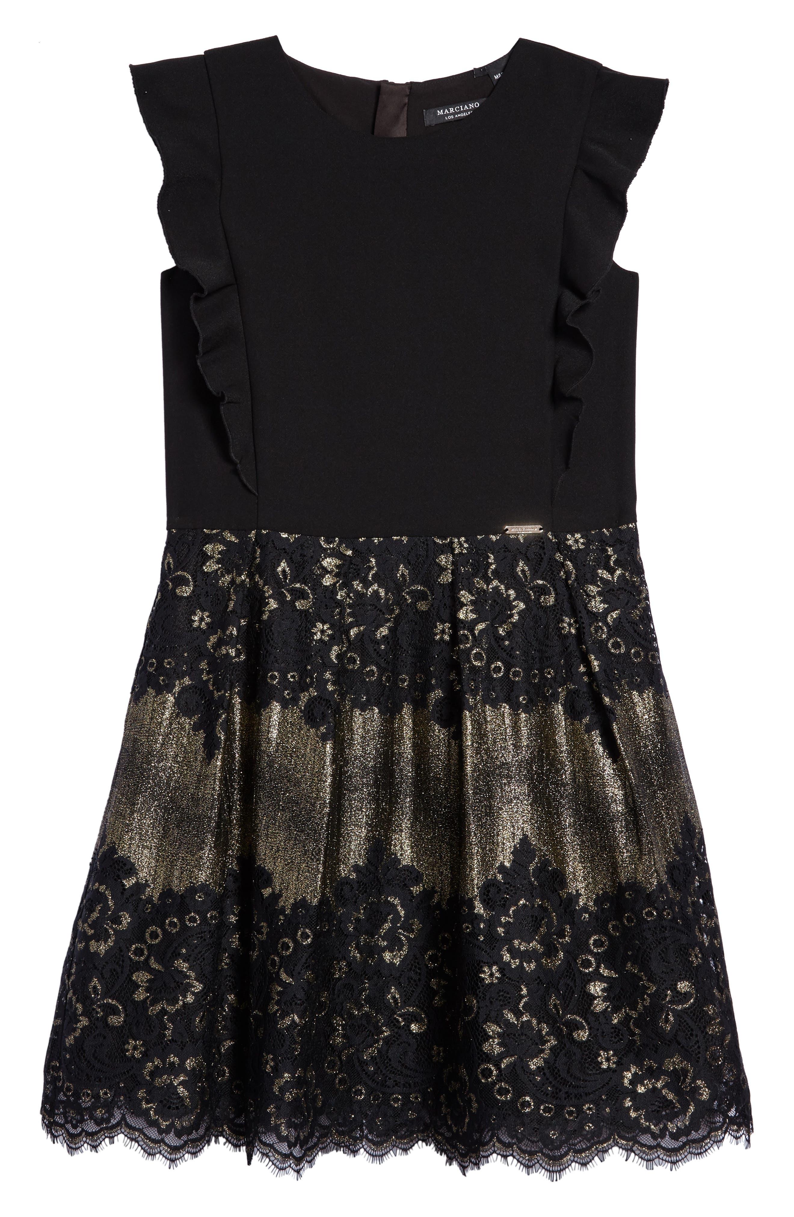 Marciano Metallic Lace Dress (Big Girls)