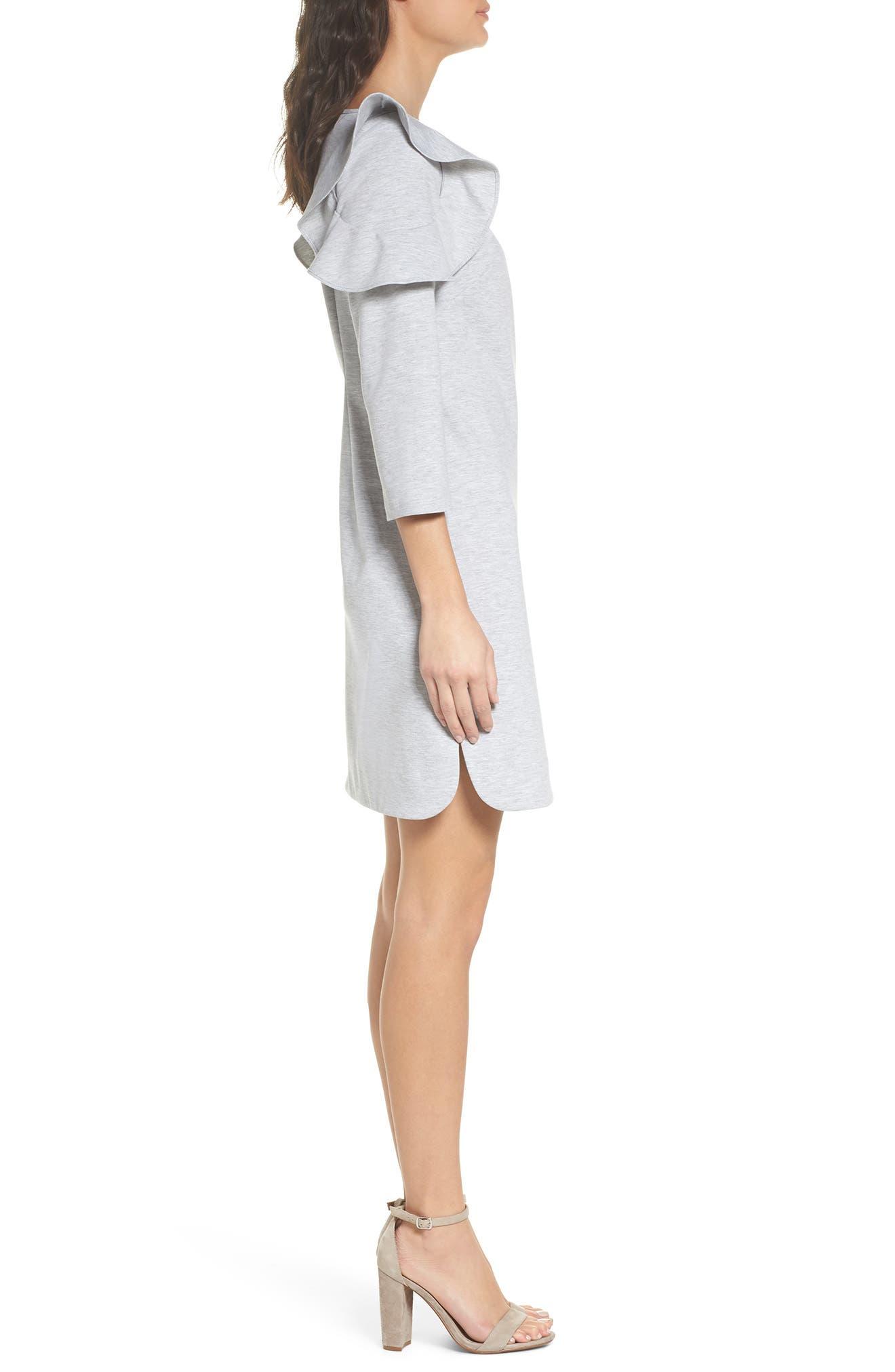 Ruffle Shoulder Sweatshirt Dress,                             Alternate thumbnail 3, color,                             Heather Grey