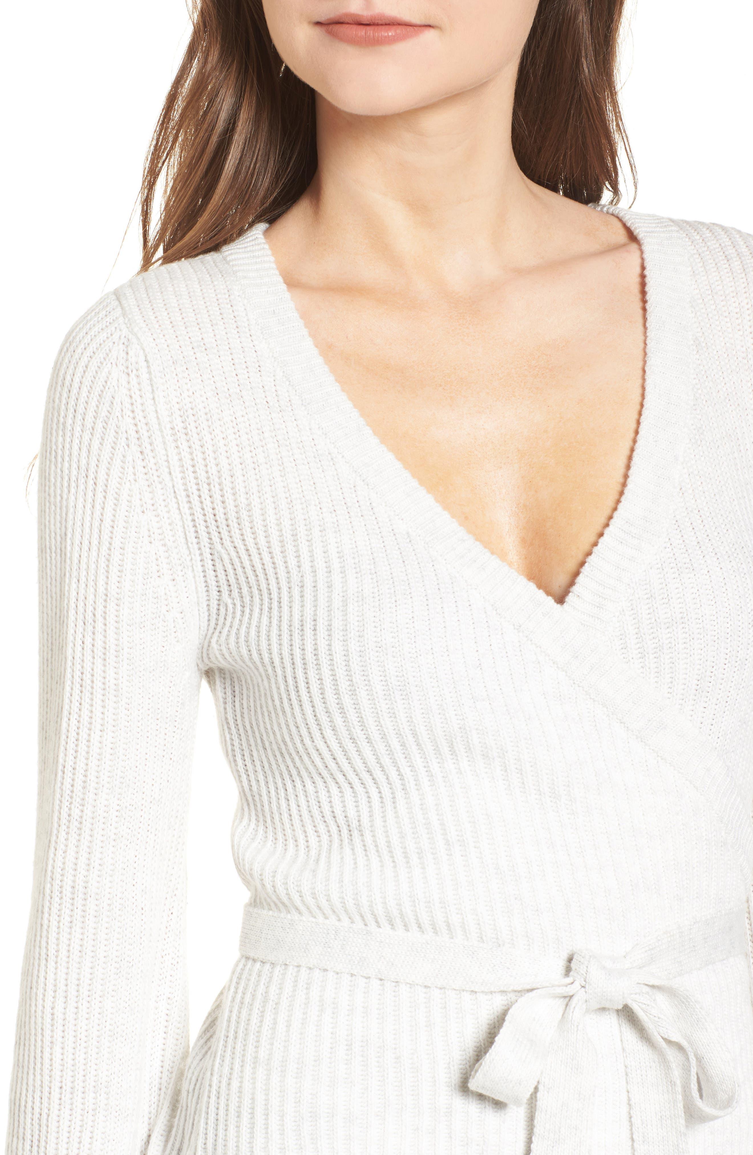 Chavi Tie Waist Sweater,                             Alternate thumbnail 4, color,                             Heather Ash