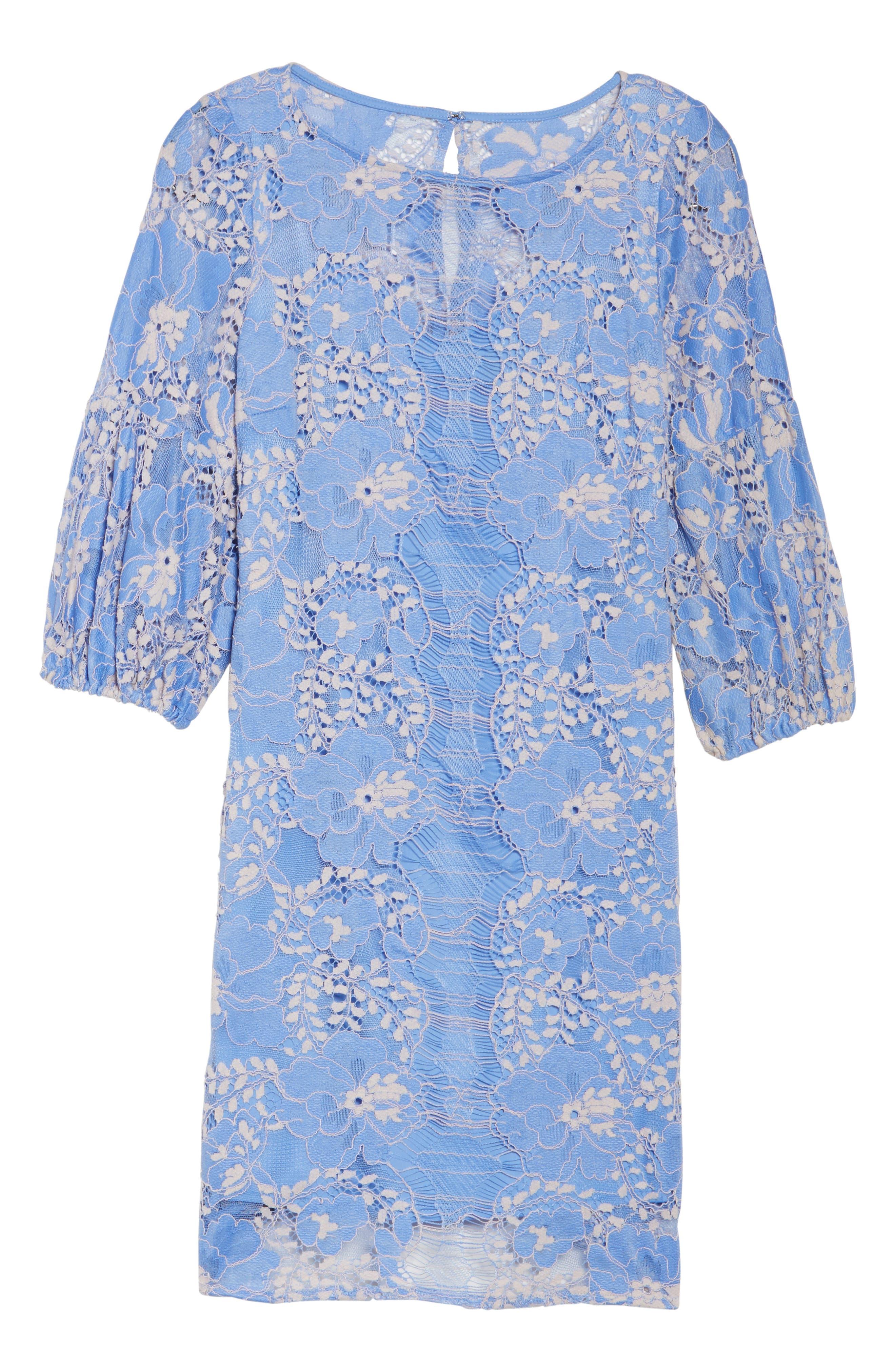 Lace Shift Dress,                             Alternate thumbnail 6, color,                             Blue/ Blush