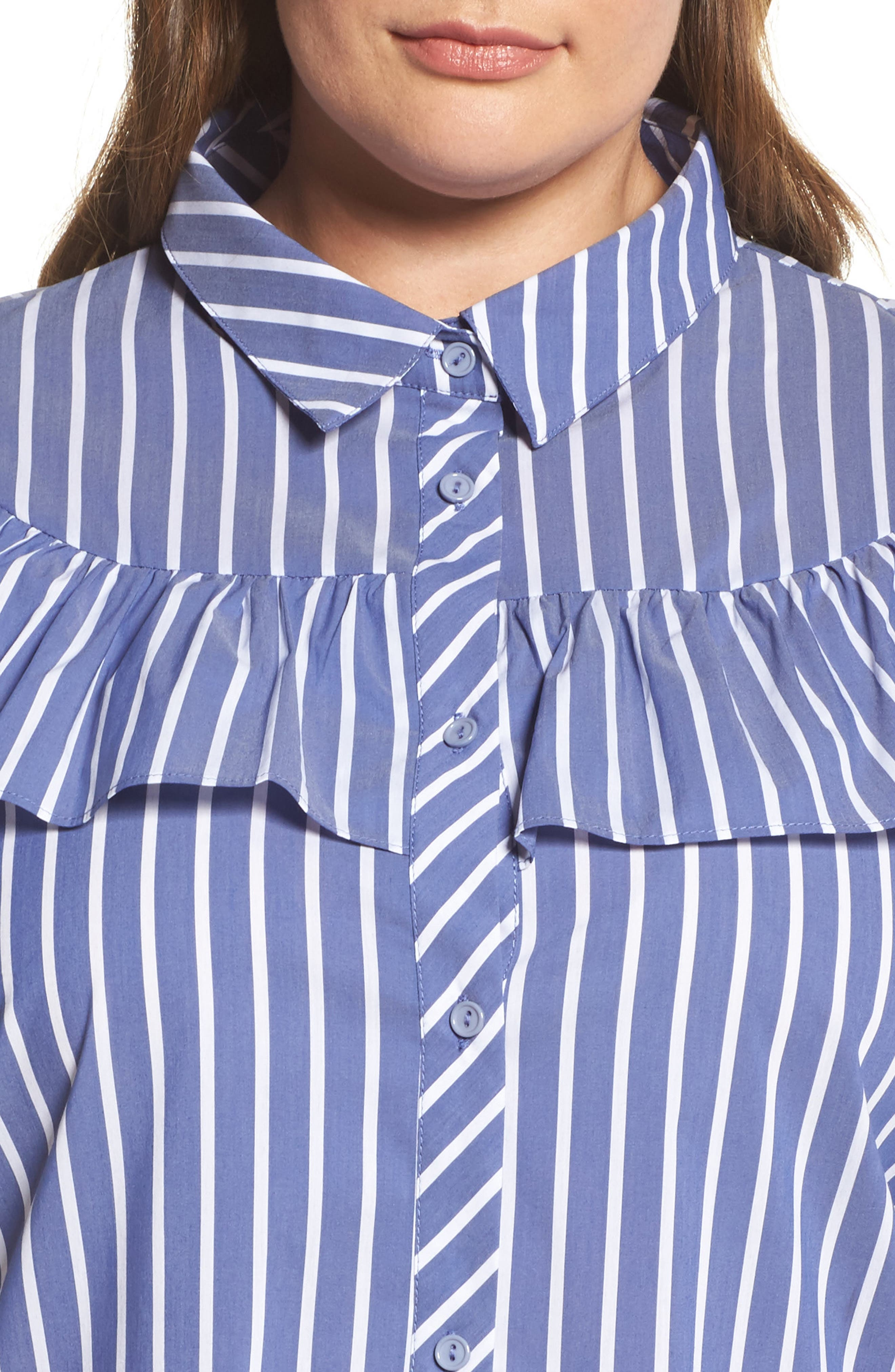Ruffle Stripe Shirtdress,                             Alternate thumbnail 4, color,                             Blue White Stripe